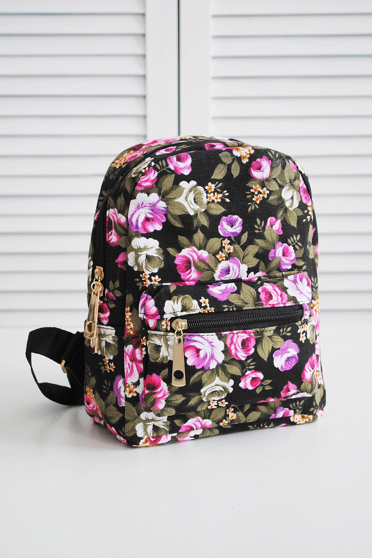 женский тканевый рюкзак с цветочным принтом. Рюкзак 6901-2. Цвет  черный- c44cc4a43e3