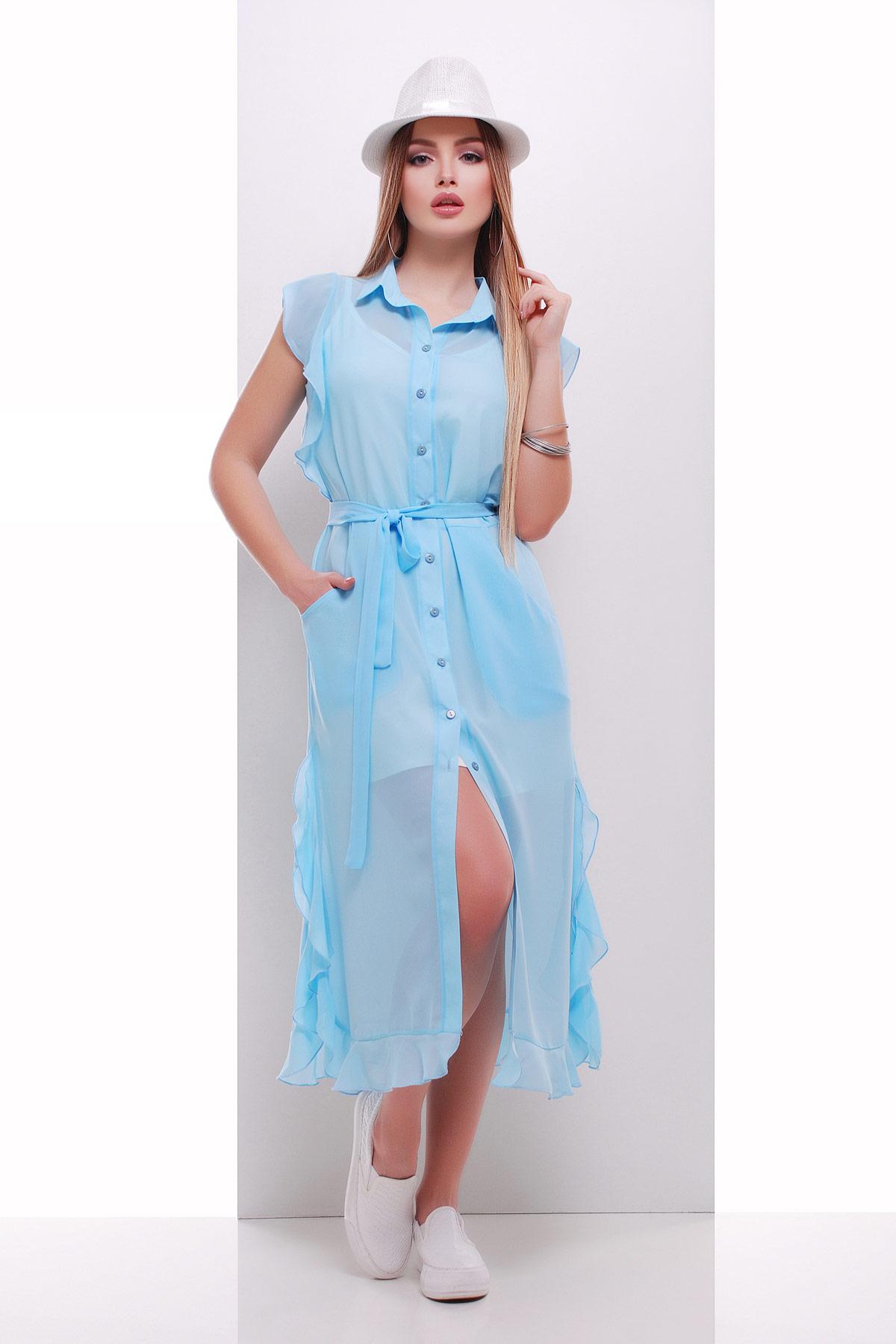 b734e79d3d0 голубое платье из шифона. платье-накидка Сан-Вита б р. Цвет