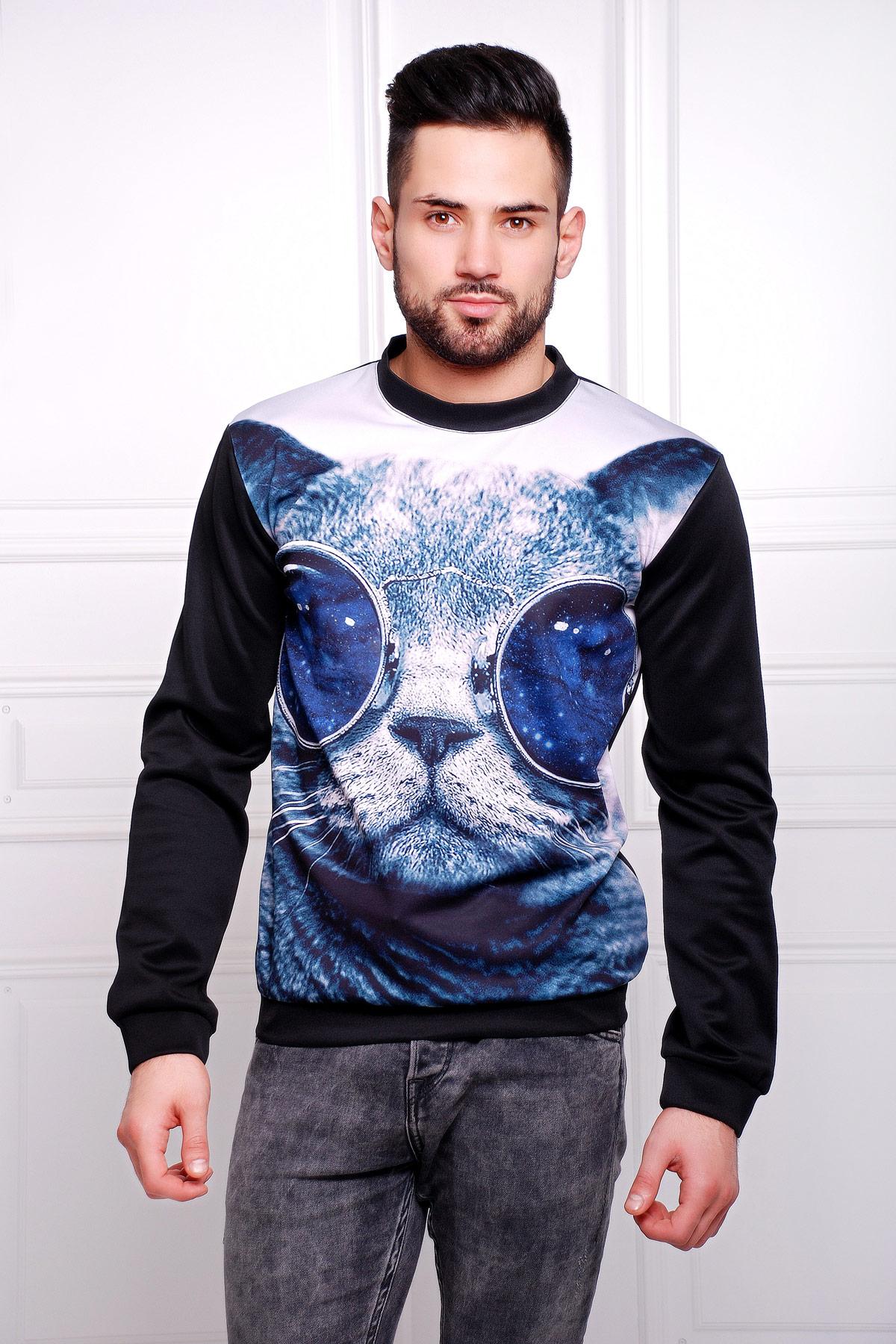 Кот в очках Свитшот №2 Men (весна) д/р. Цвет: принт-черная отделка