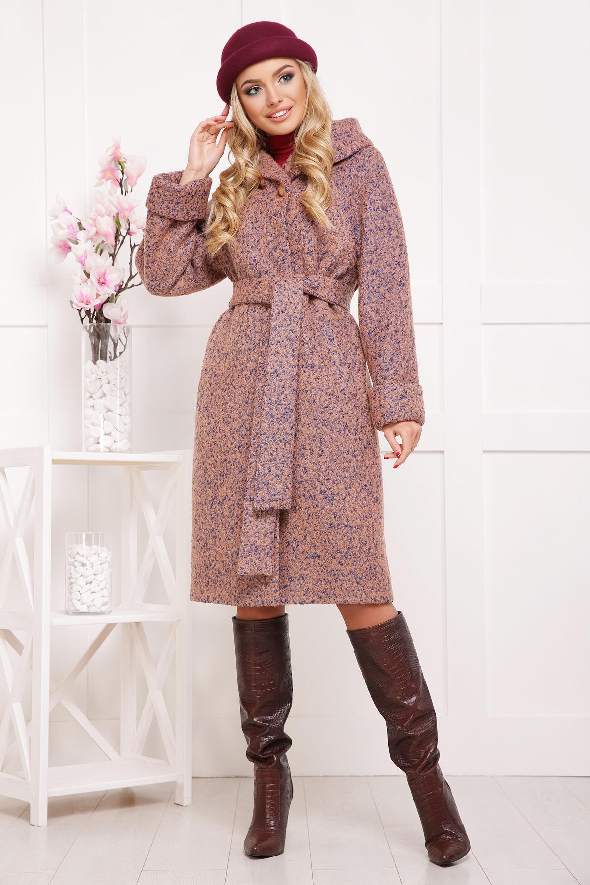 женское пальто с капюшоном. пальто П-304-100б. Цвет  1208 купить ... d8a337990629b