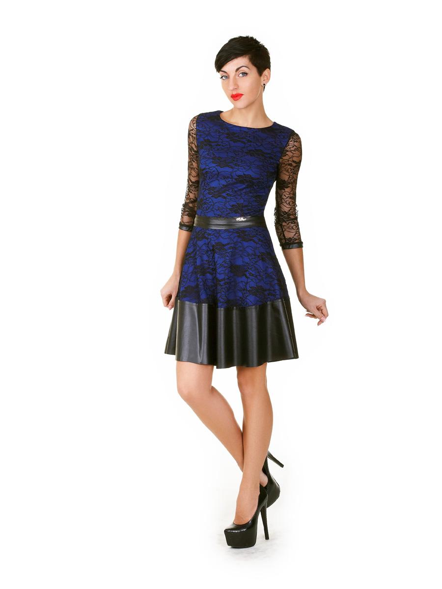 3777b1ecf74 синее платье с гипюровыми рукавами. платье Лючия д р. Цвет  электрик-