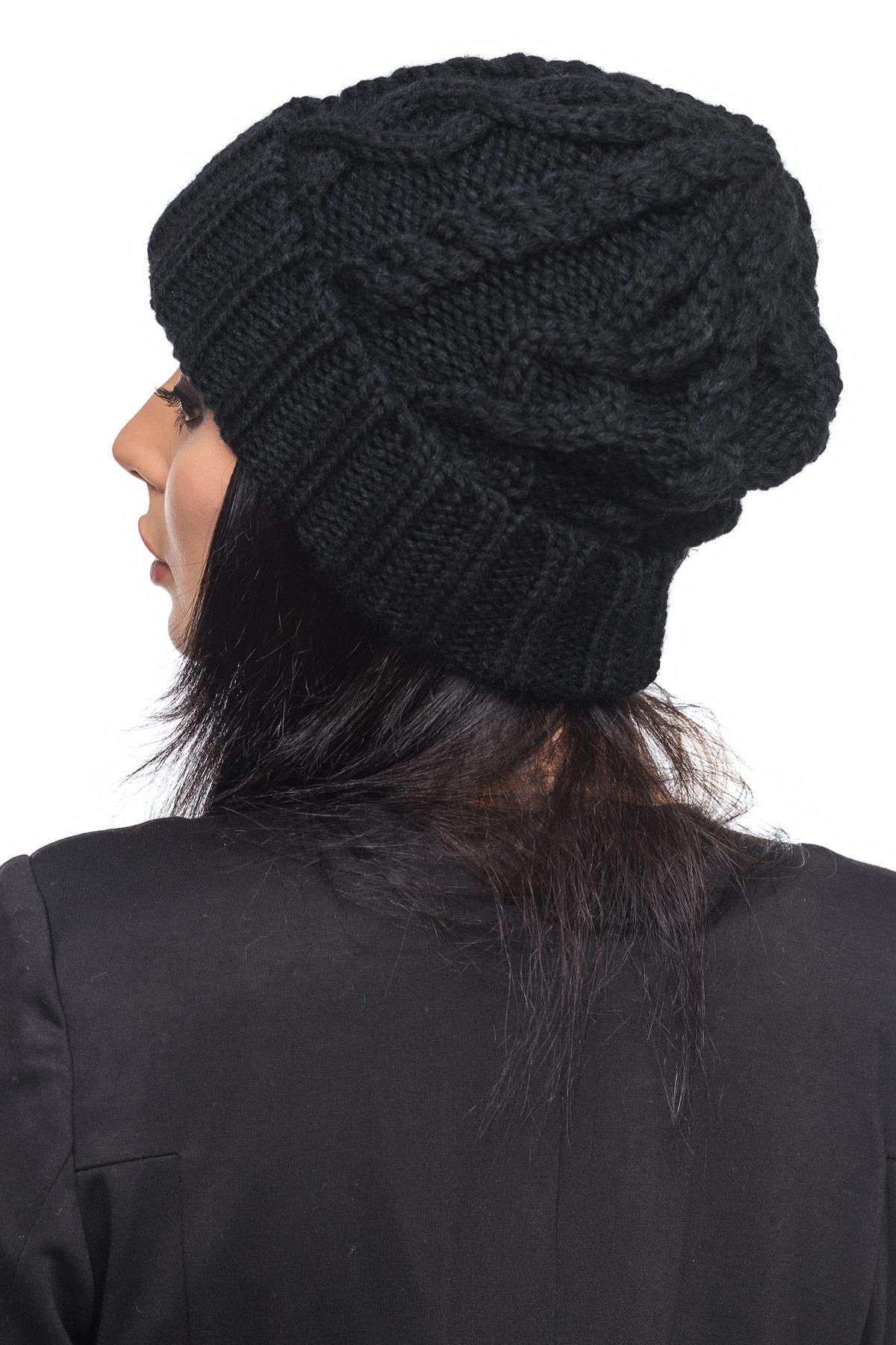 Черная шапка с отворотом