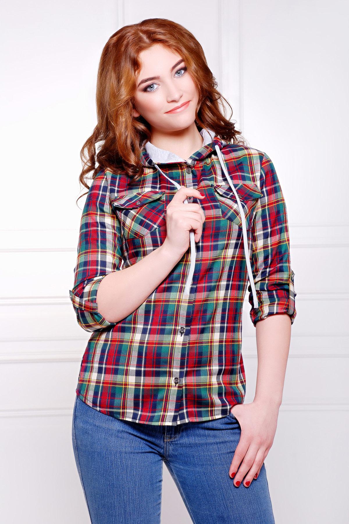 блуза Коломбо д/р. Цвет: т.синий-зеленый