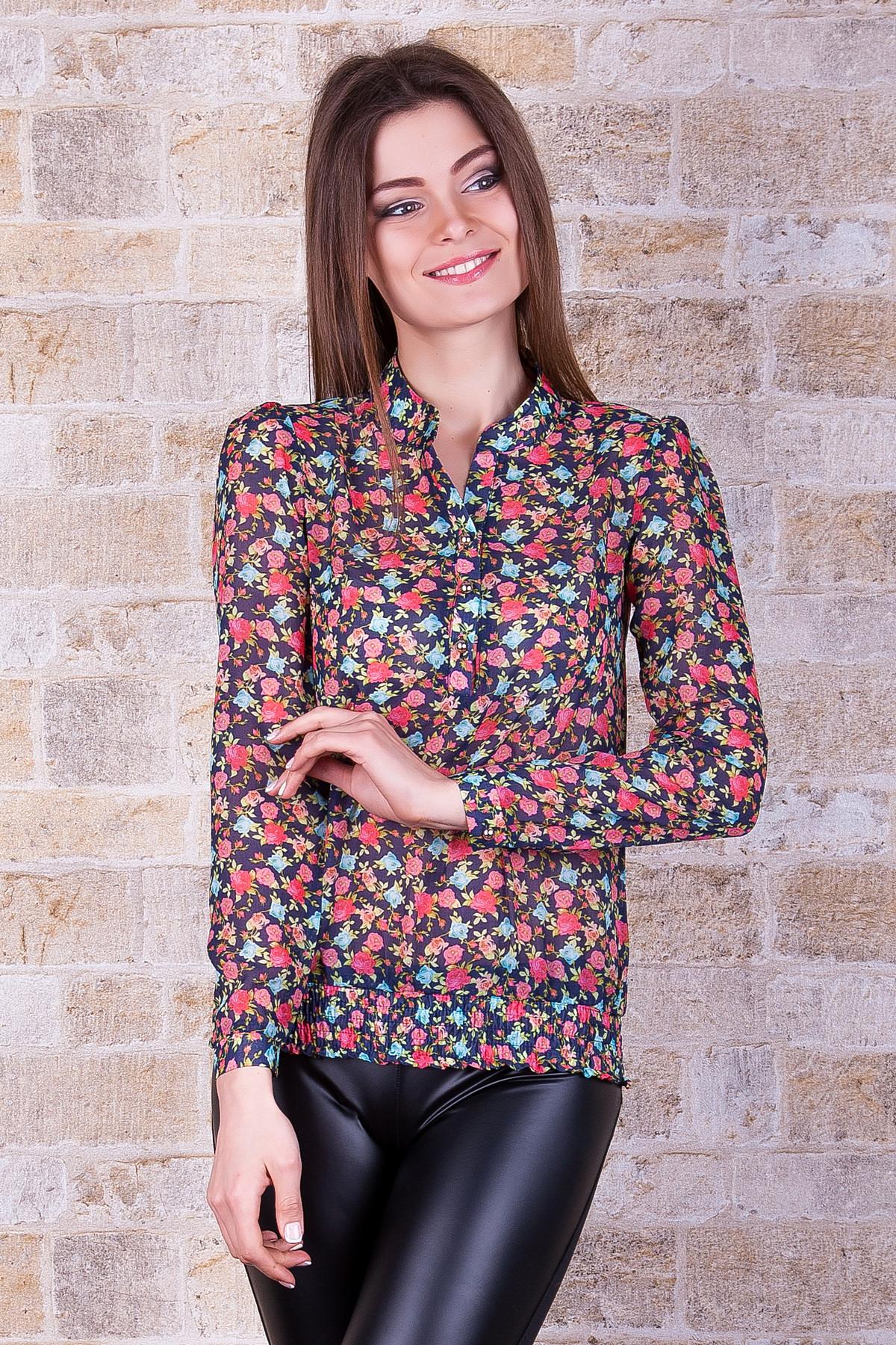 239774481aa темно-синяя шифоновая блуза с длинным рукавом и цветочным принтом. блуза  Весна д