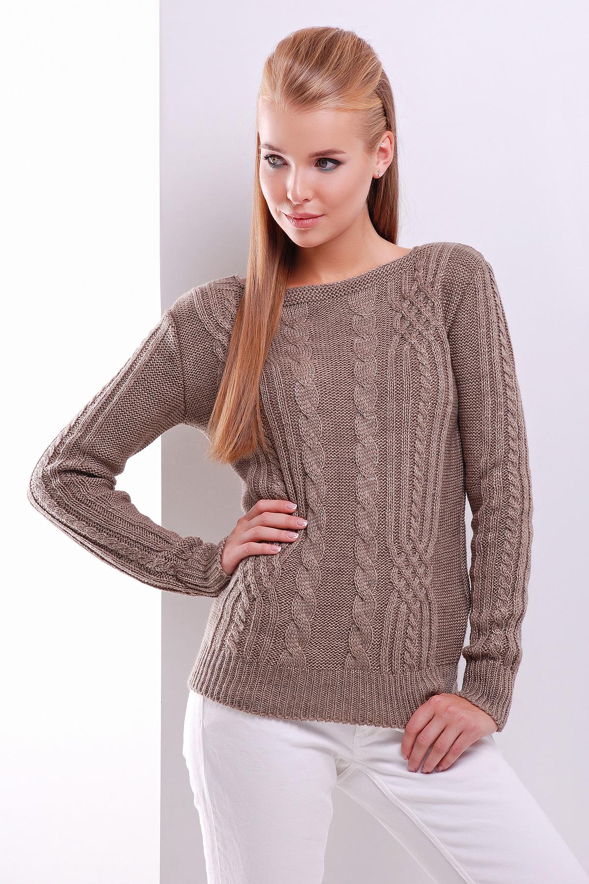 купить женский вязаный свитер цвета кофе с косами