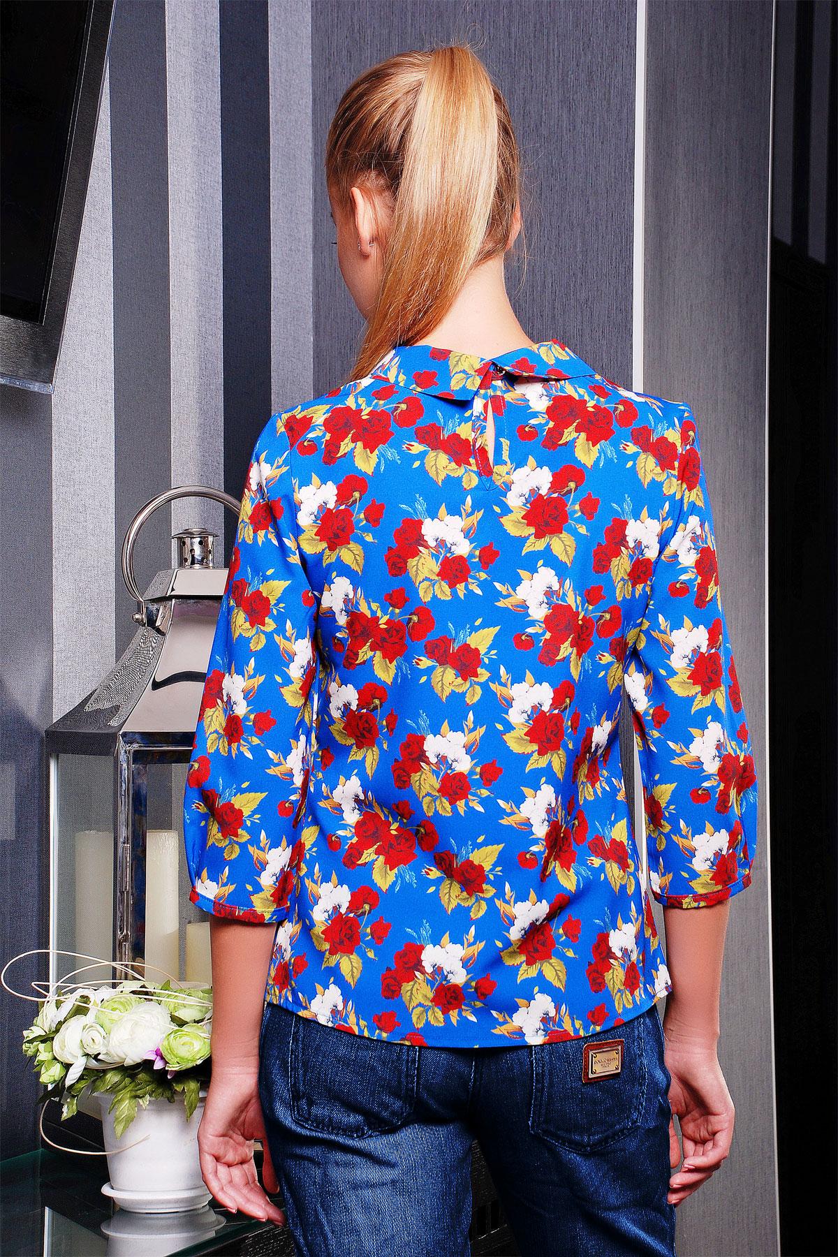 Белая блузка с синими цветами купить