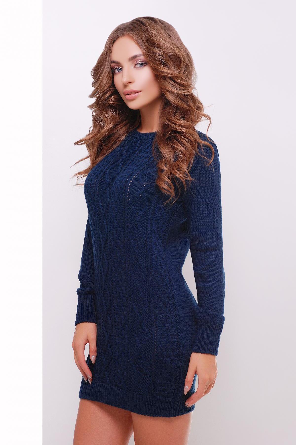 9c1e89ce8f6 короткое вязаное платье. Платье-туника 143. Цвет  темно-синий купить