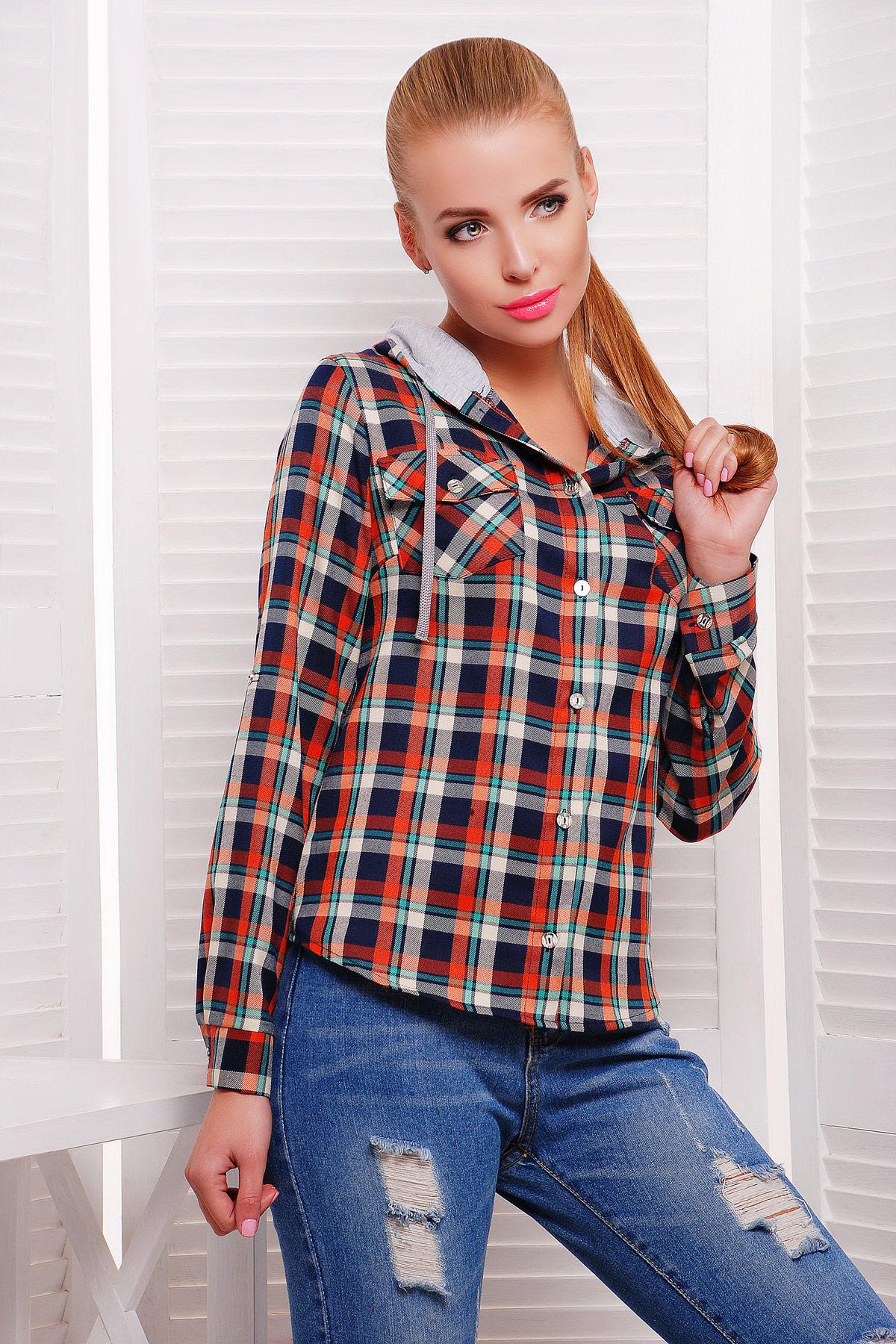 блуза Коломбо д/р. Цвет: оранжевый-серая отделка