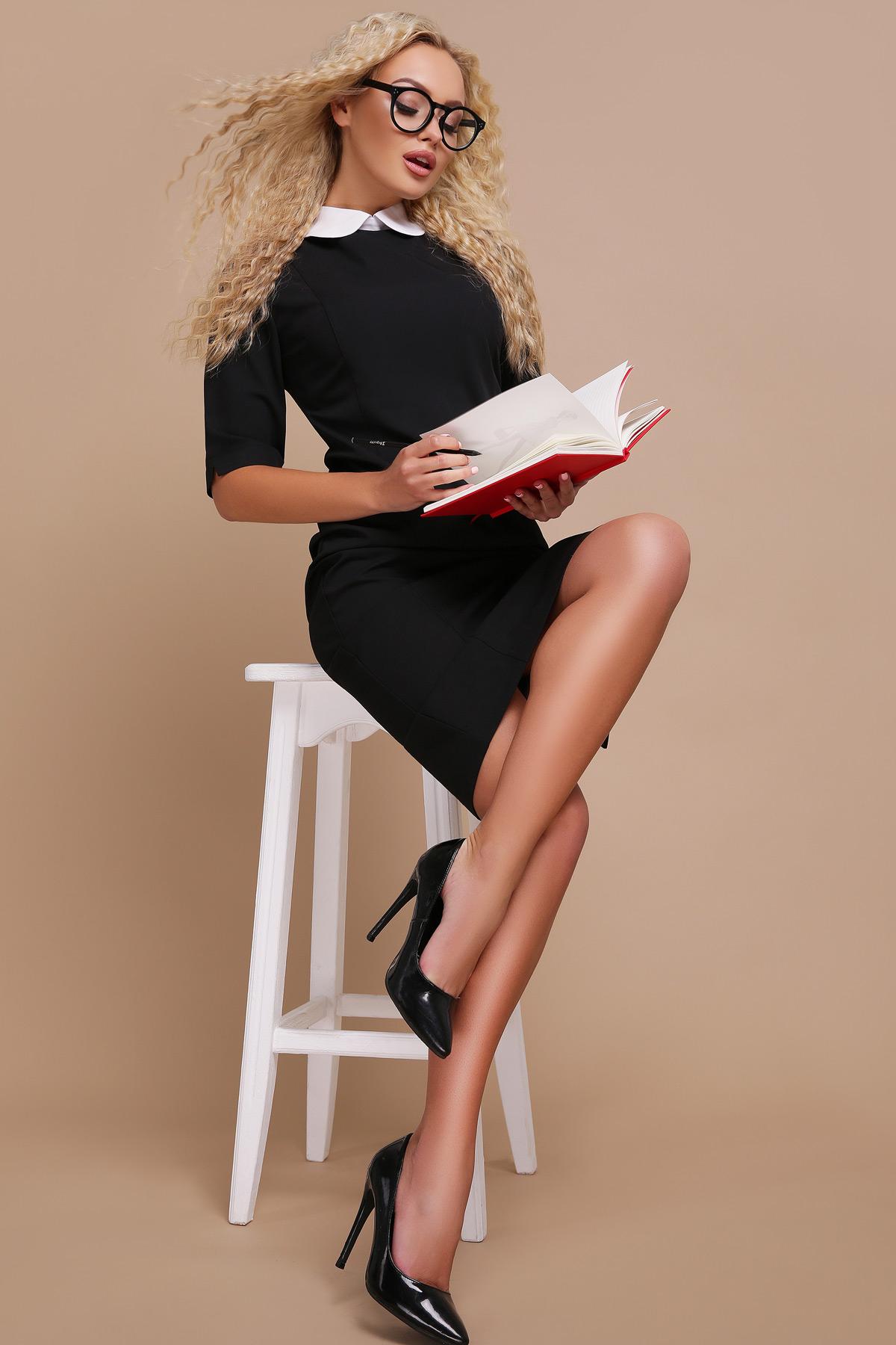 bdf7351dcfb6f4d Цвет: черный купить; строгое черное платье. платье Ундина 3/4. Цвет: черный  цена