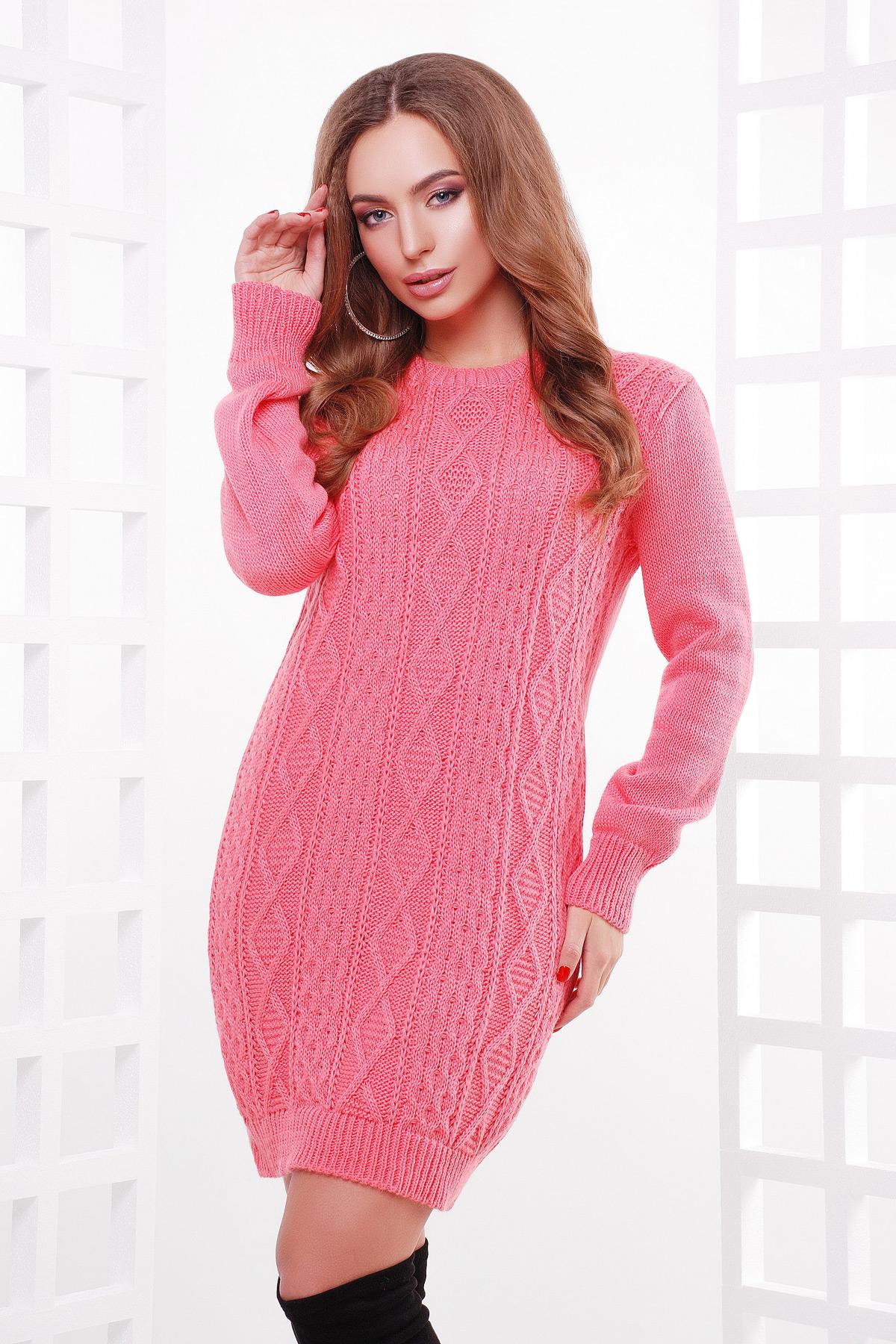 65f35373587 теплое вязаное платье туника. Платье-туника 143. Цвет  коралл