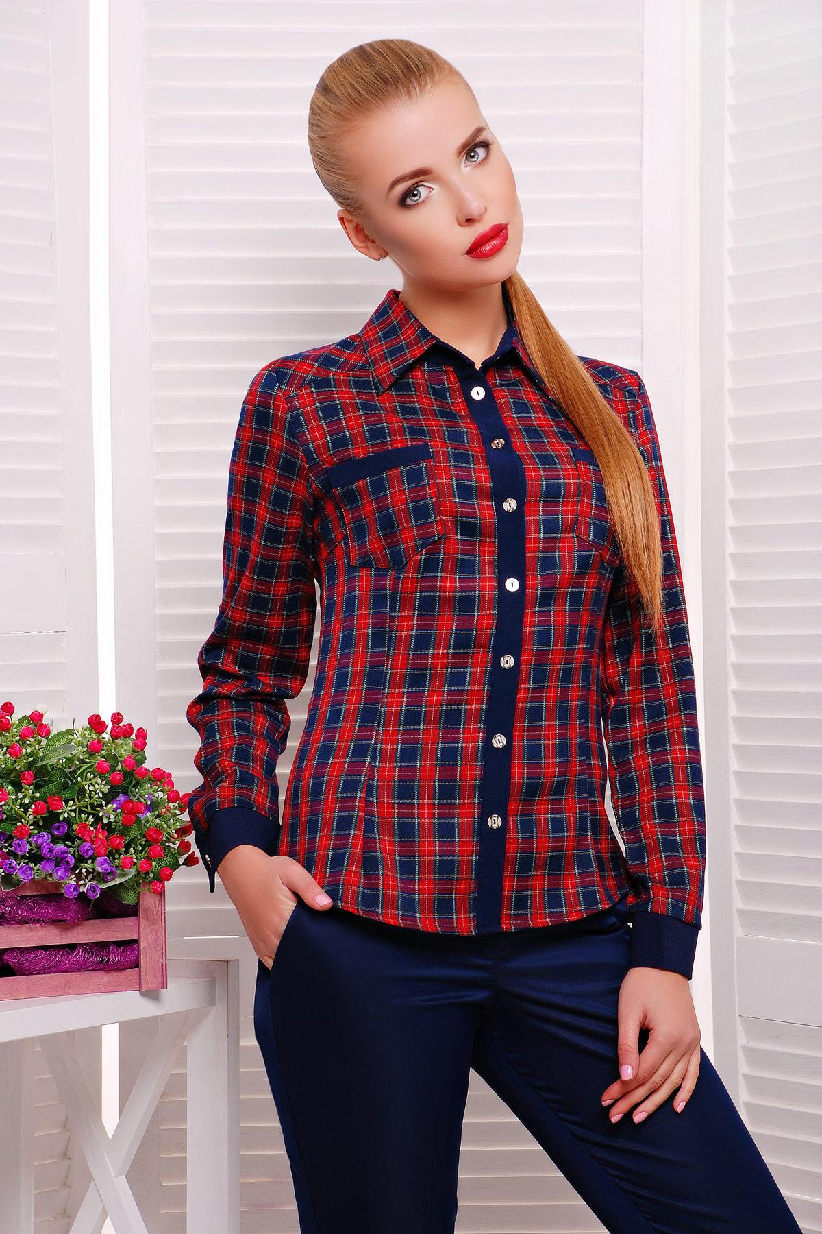 блуза Шотландка2 д/р. Цвет: красный-т.синий клетка