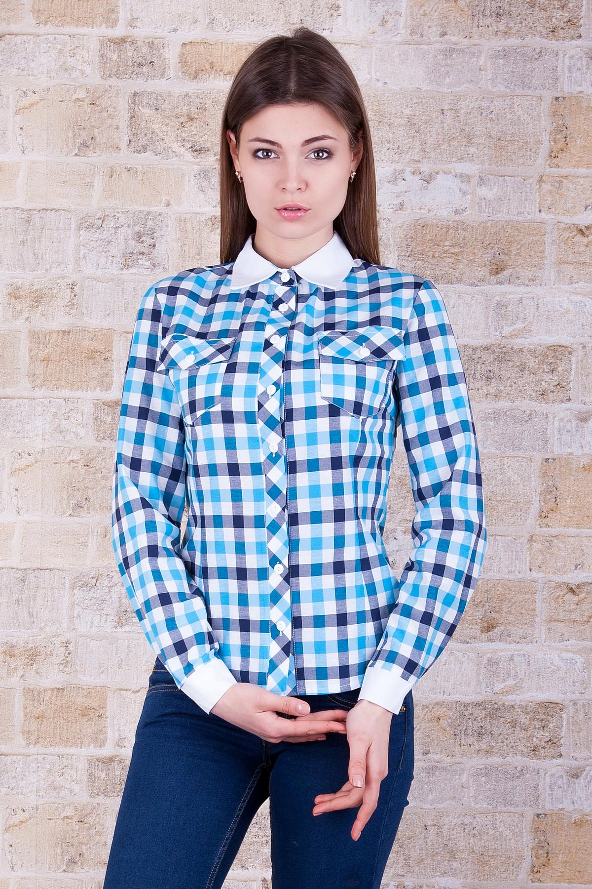 3211d27a8ce стильная клетчатая рубашка. блуза Техас д р. Цвет  голубой-клетка крупн