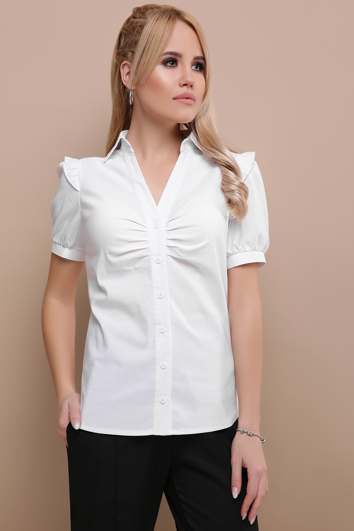 b6c38033cb9 голубая блузка с рюшами. блуза Маргарита к р. Цвет  белый