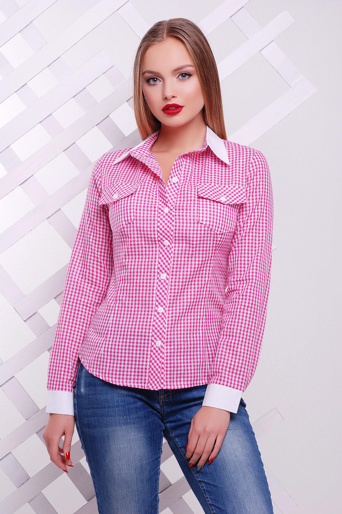 efd388686e2 Розовая блуза в мелкую клетку классического кроя. блуза Техас д р. Цвет
