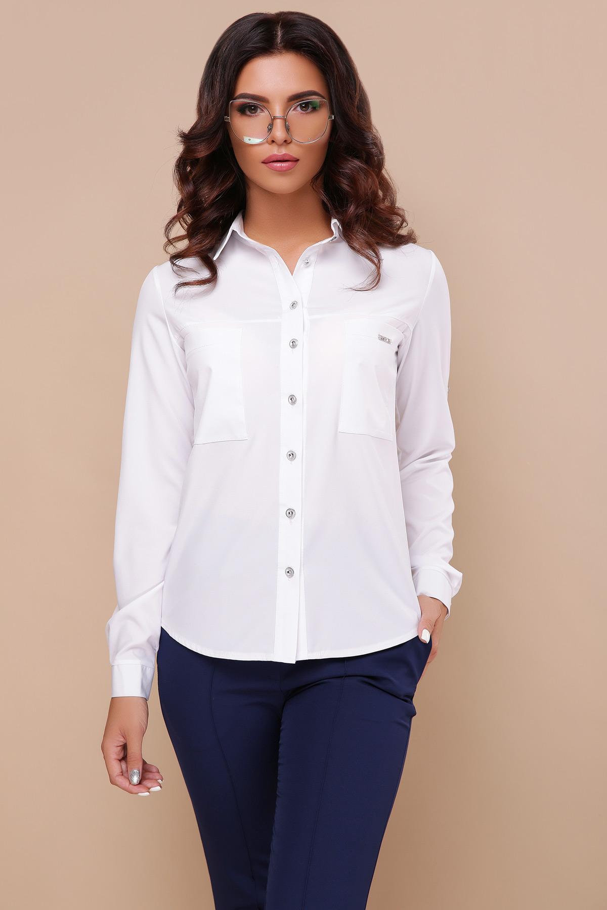d50b1acbee58a71 белая рубашка с длинным рукавом. блуза Кери д/р. Цвет: белый