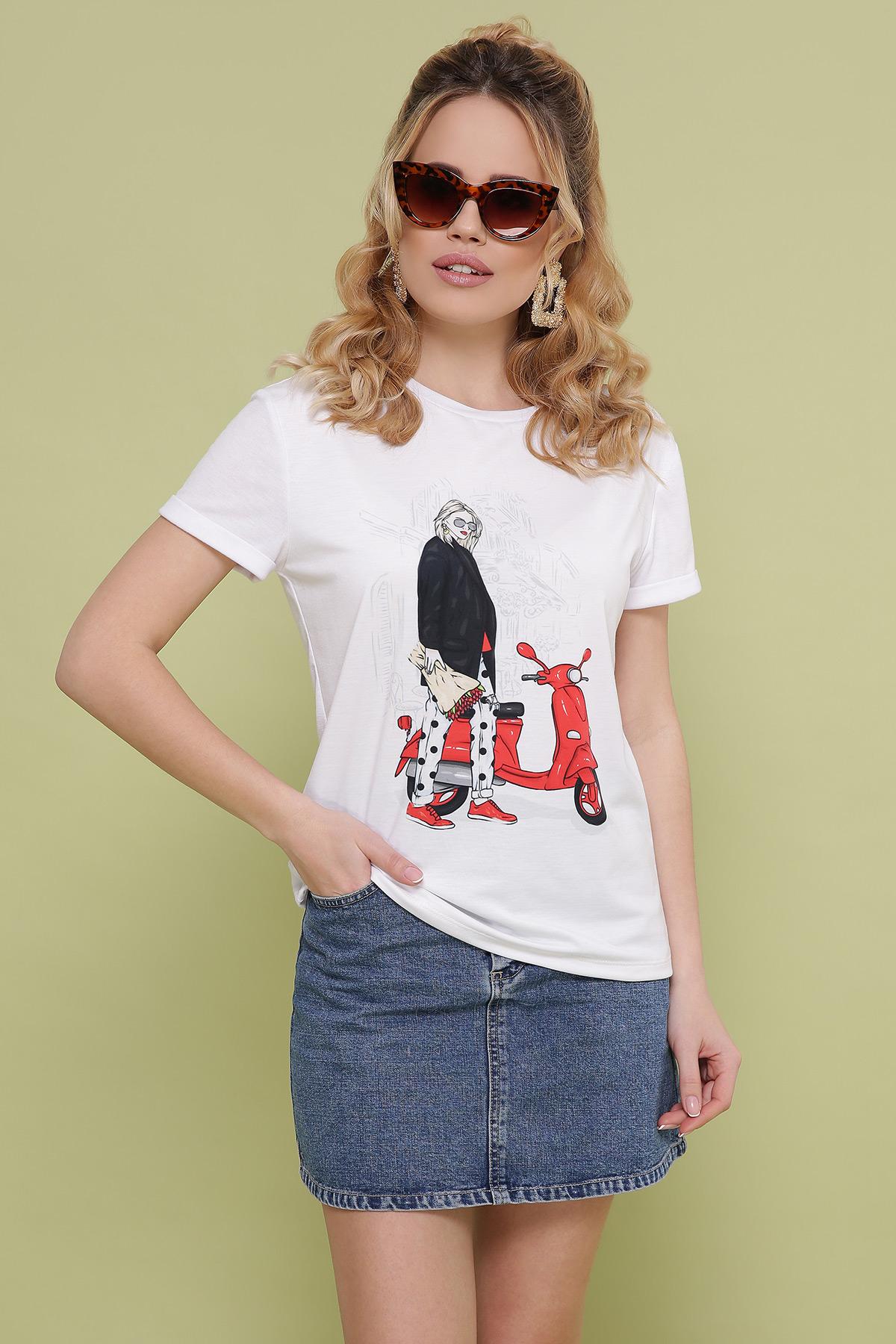 Девочка с мопедом футболка Boy-2. Цвет: белый