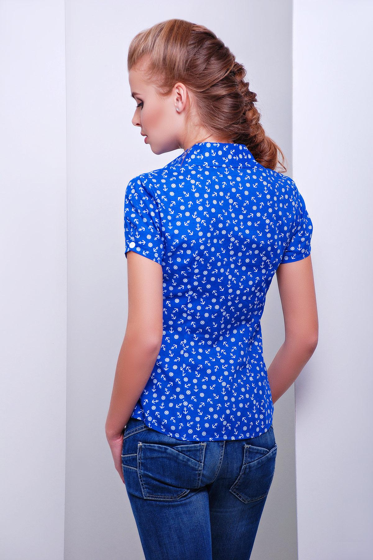 a4abebf19a5 темно-синяя блуза из хлопка с морским принтом и коротким рукавом. блуза  Якира к