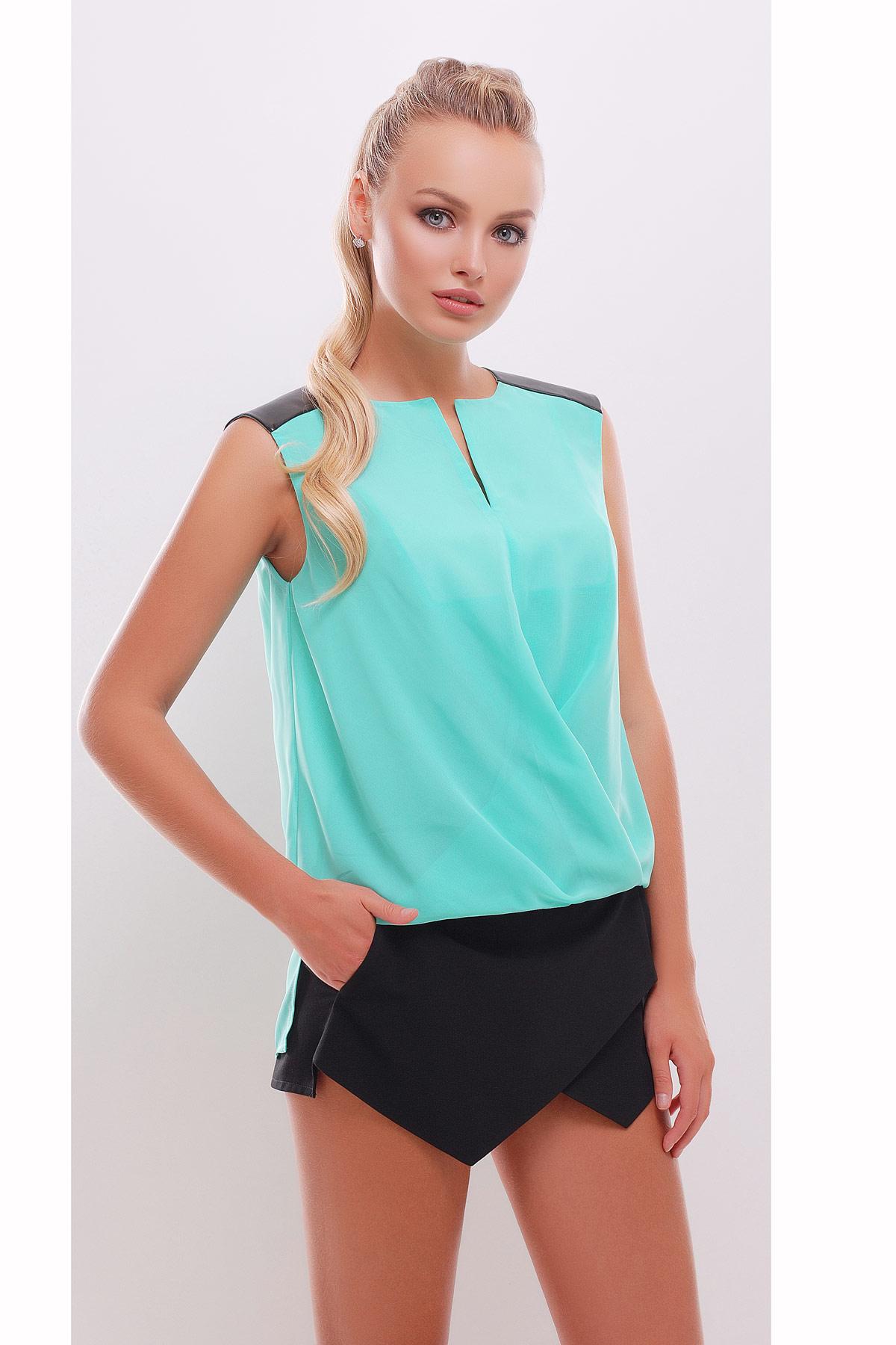 Блузка черная без рукавов купить