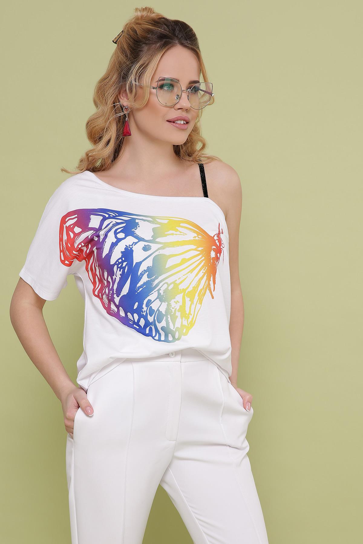 Бабочка цветная футболка Паула. Цвет: белый