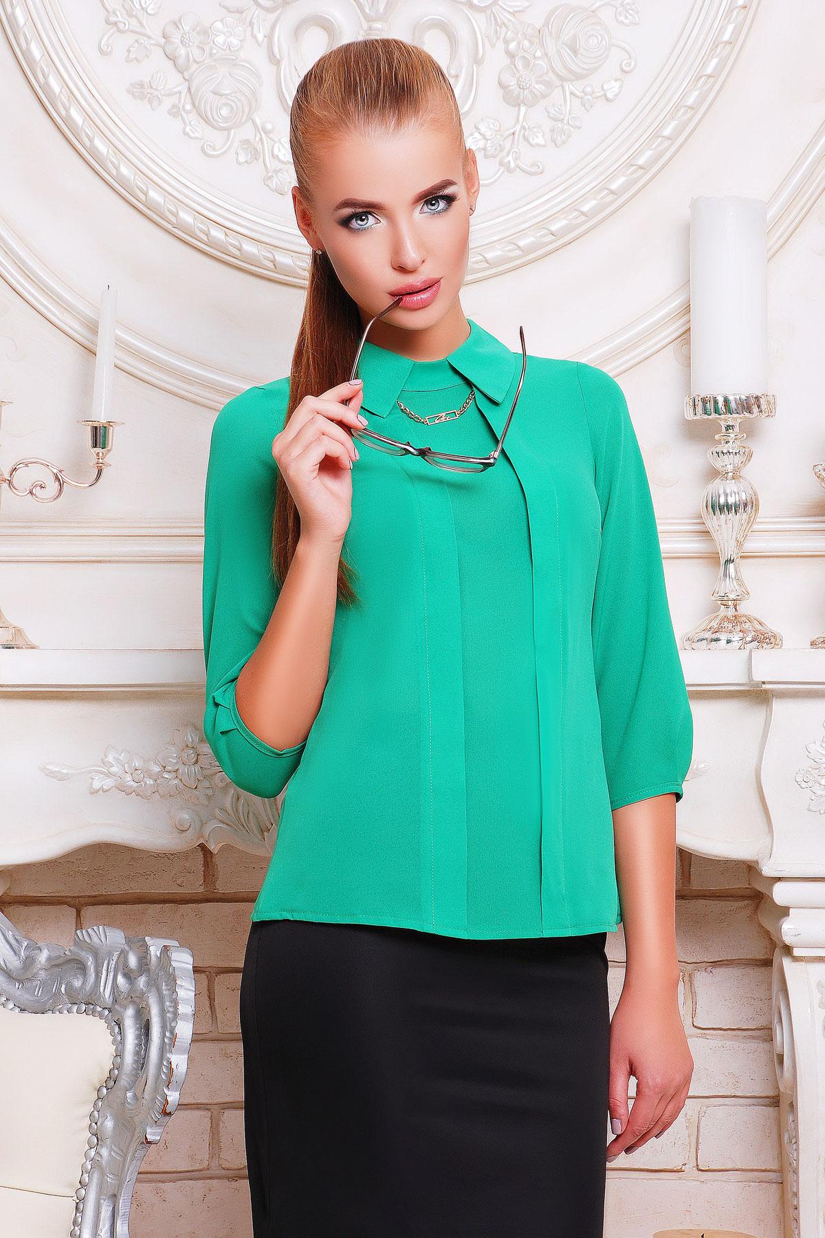 916ce36104f белая офисная блузка из шифона. блуза Келли д р. Цвет  зеленый
