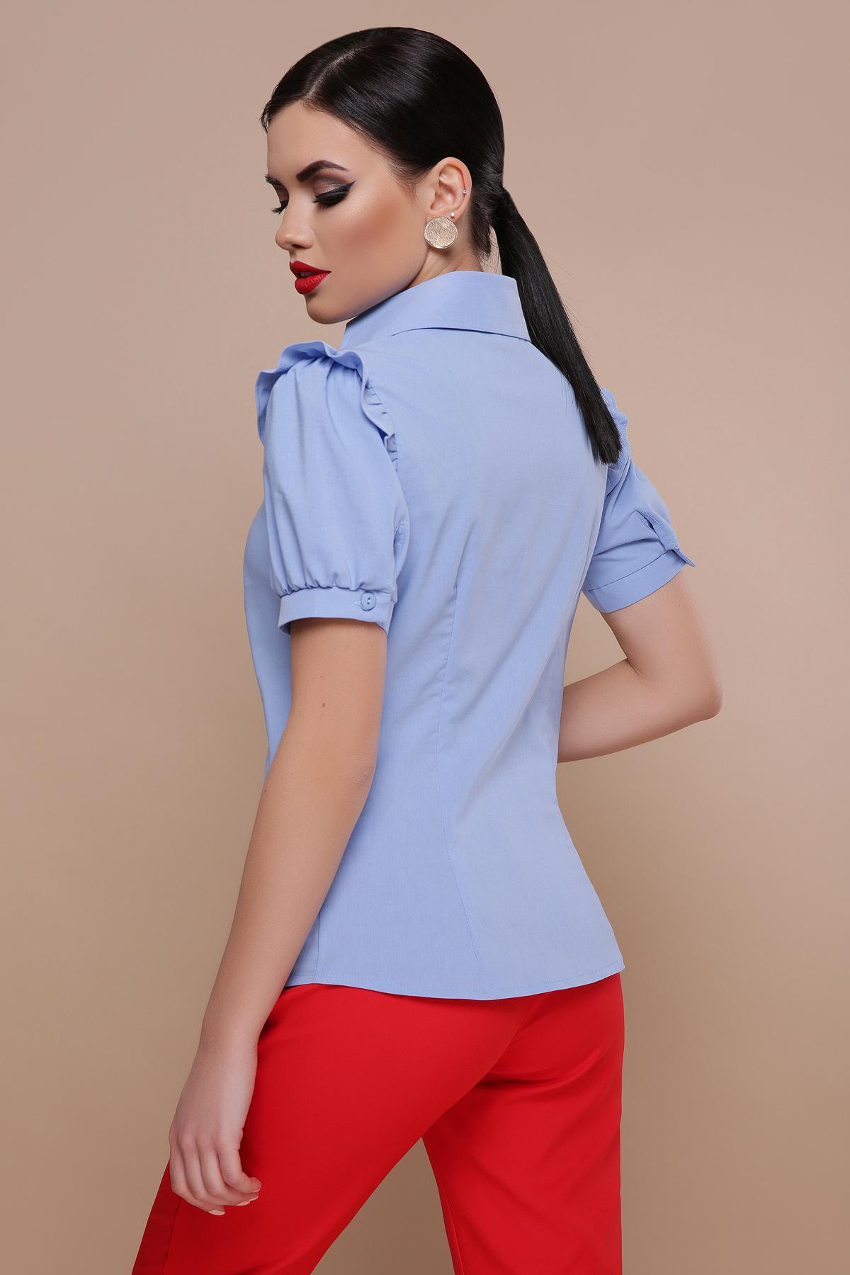 d355bb05cd7 Цвет  голубой купить  голубая блузка с рюшами. блуза Маргарита к р. Цвет  голубой  цена