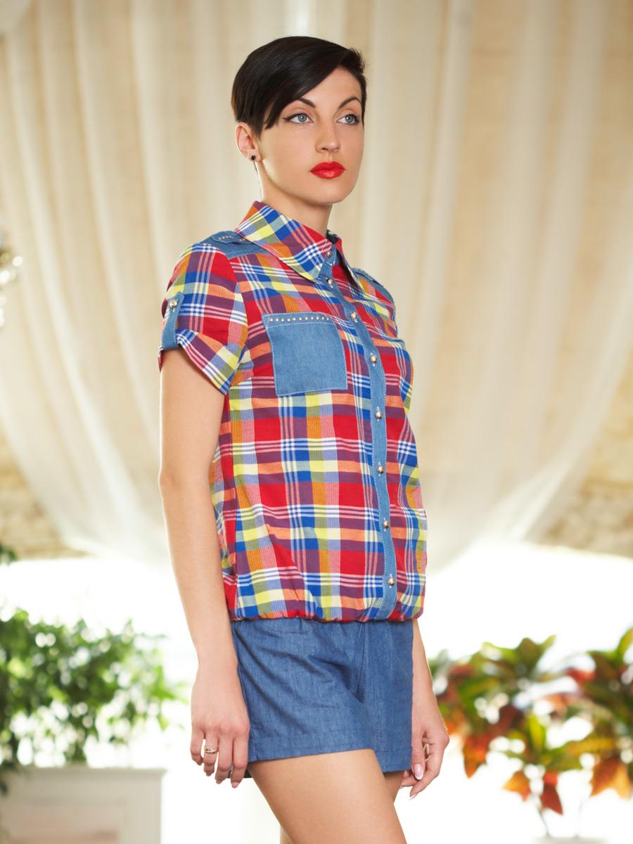 блуза Кантри к/р. Цвет: клетка электрик-желт