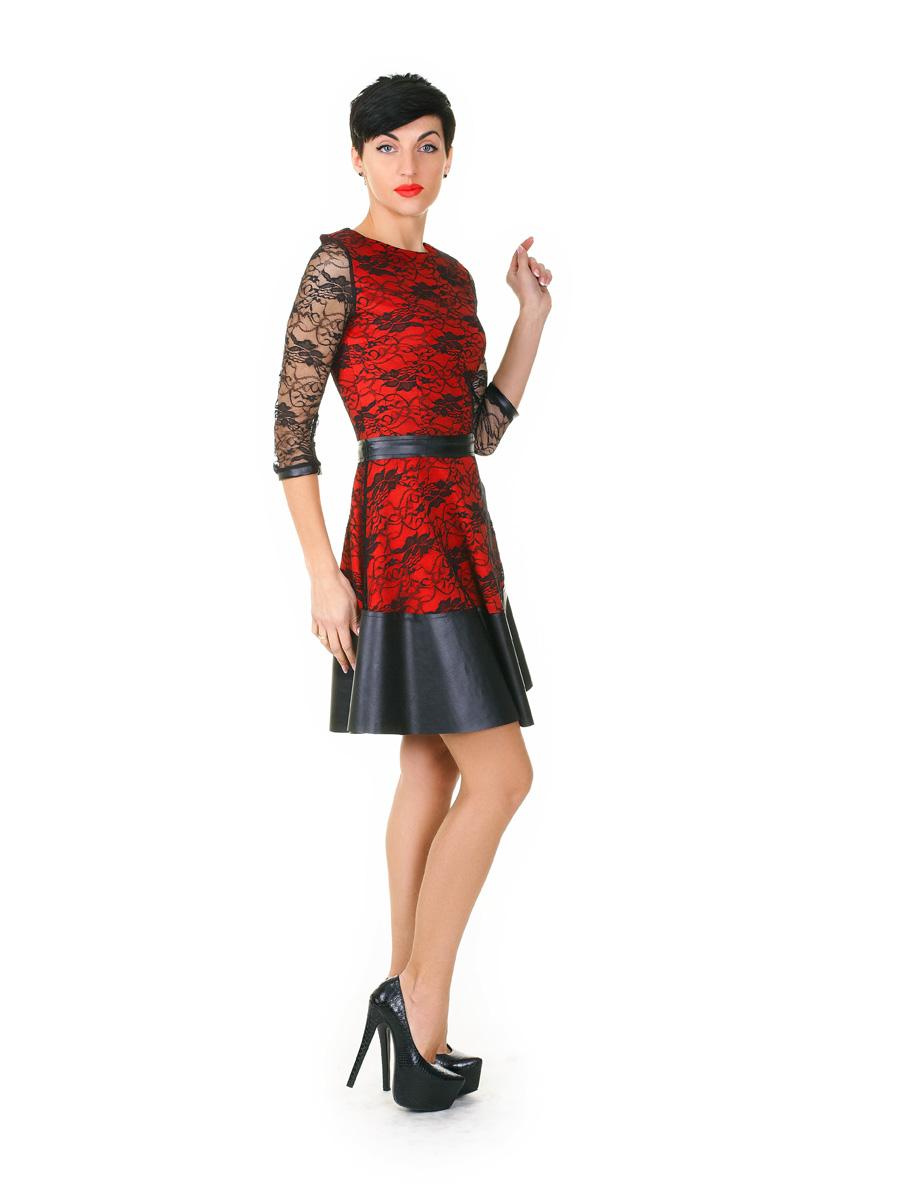 22d17c29a89 Платье Лючия д р. Цвет  коралл-черный гипюр - купить оптом и в ...
