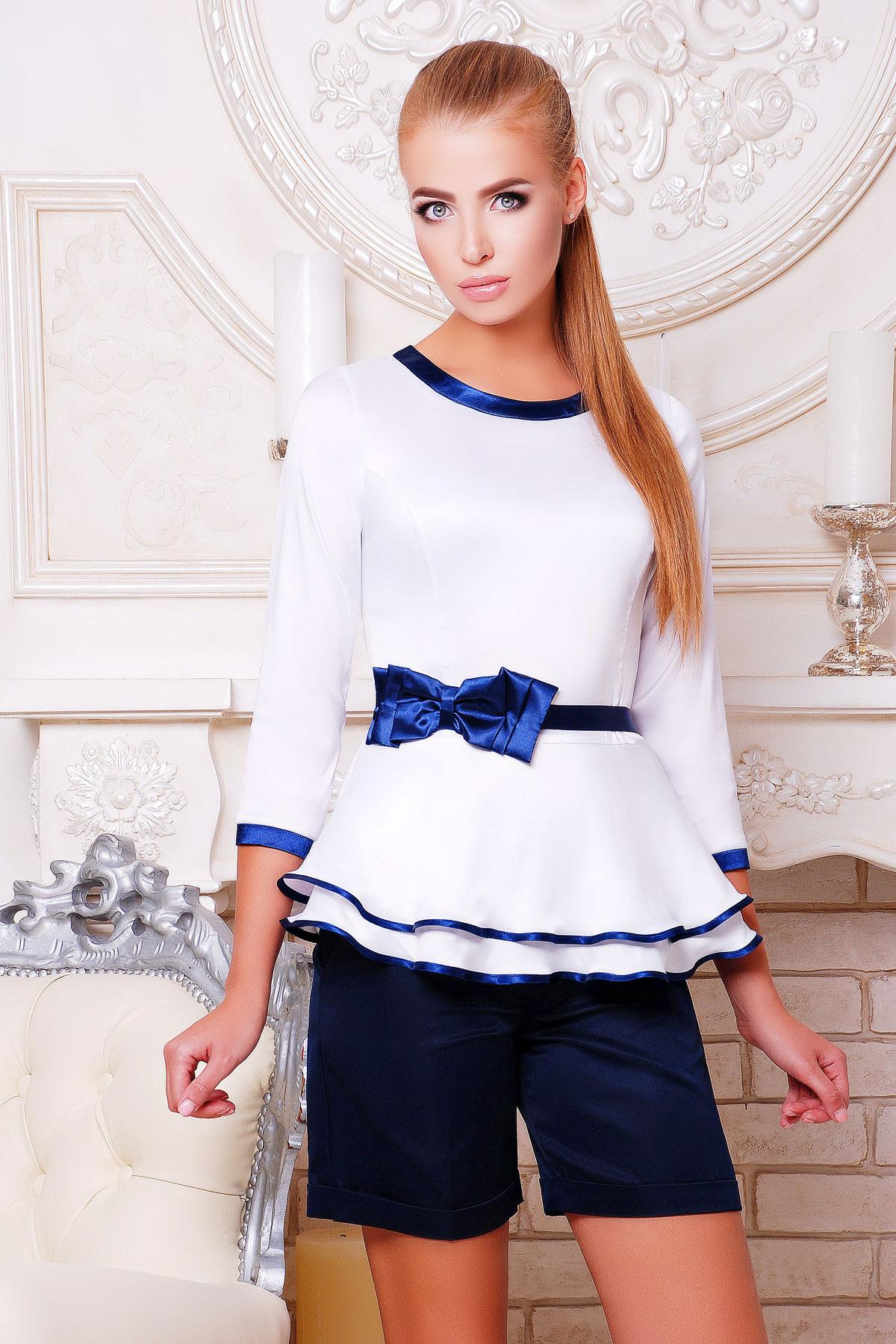6fc7400412d Блуза Бонни д р. Цвет  белый-т.синяя отделка - купить оптом и в ...