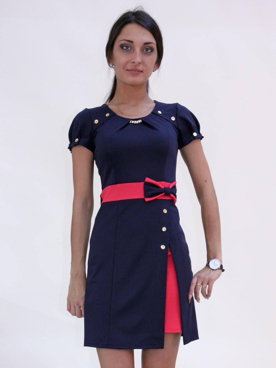 Платья темно синее с белой вставкой