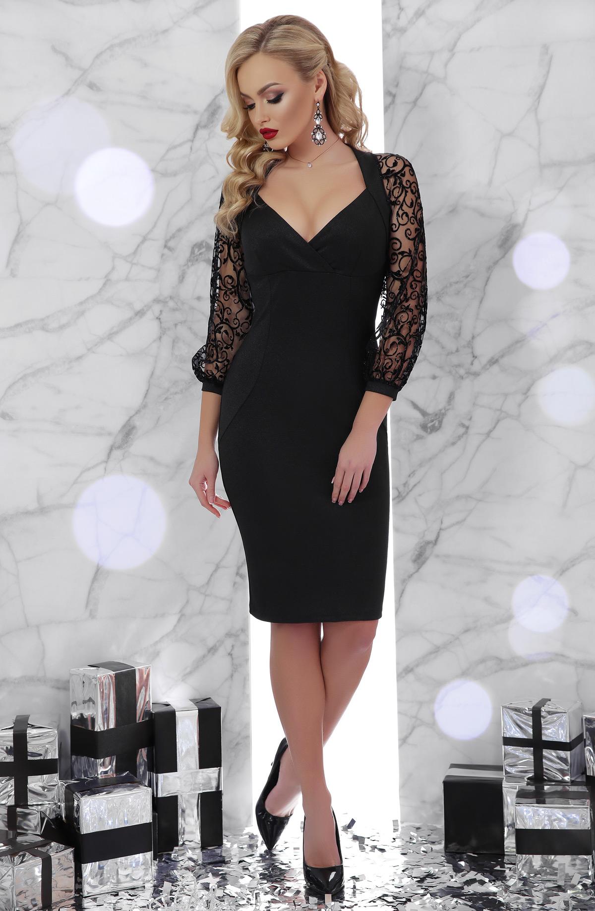 be17e4accad черное платье с кружевными рукавами. платье Флоренция д р. Цвет  черный