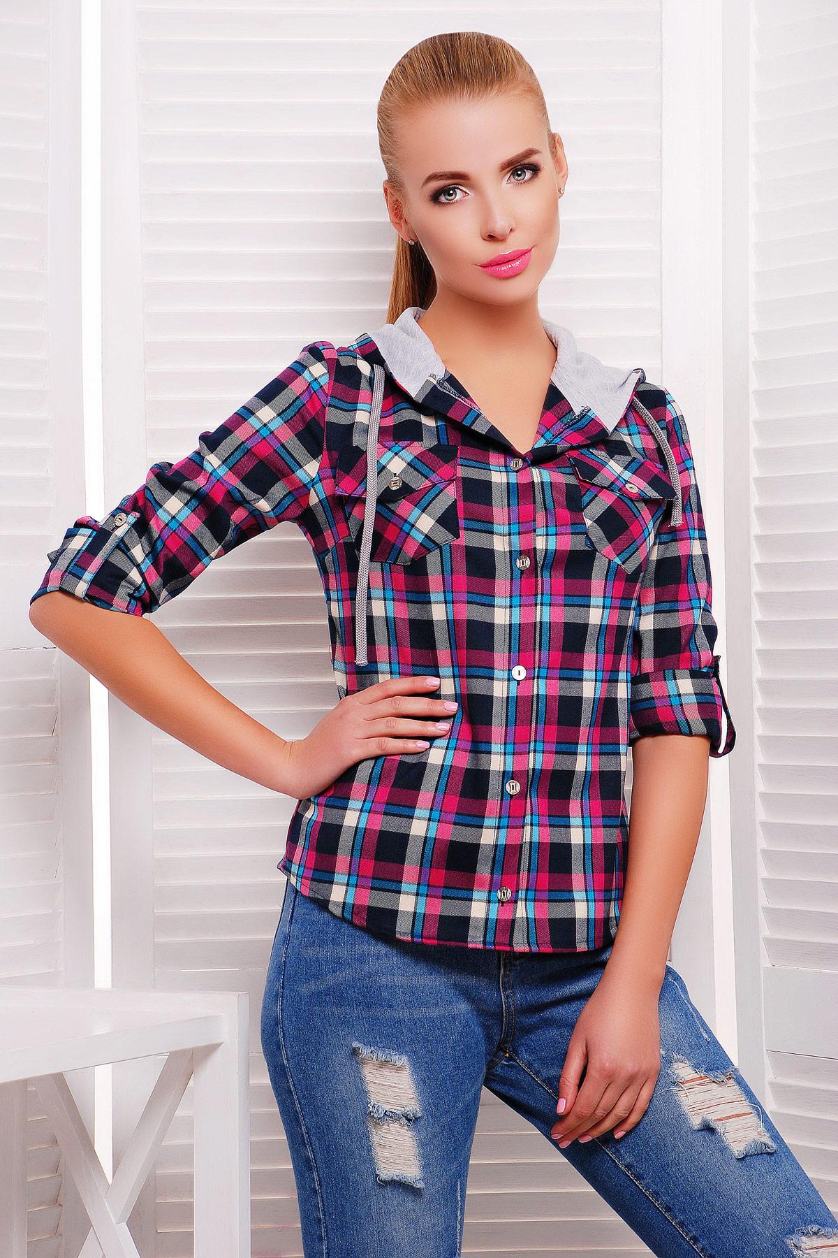 блуза Коломбо д/р. Цвет: фуксия-серая отделка