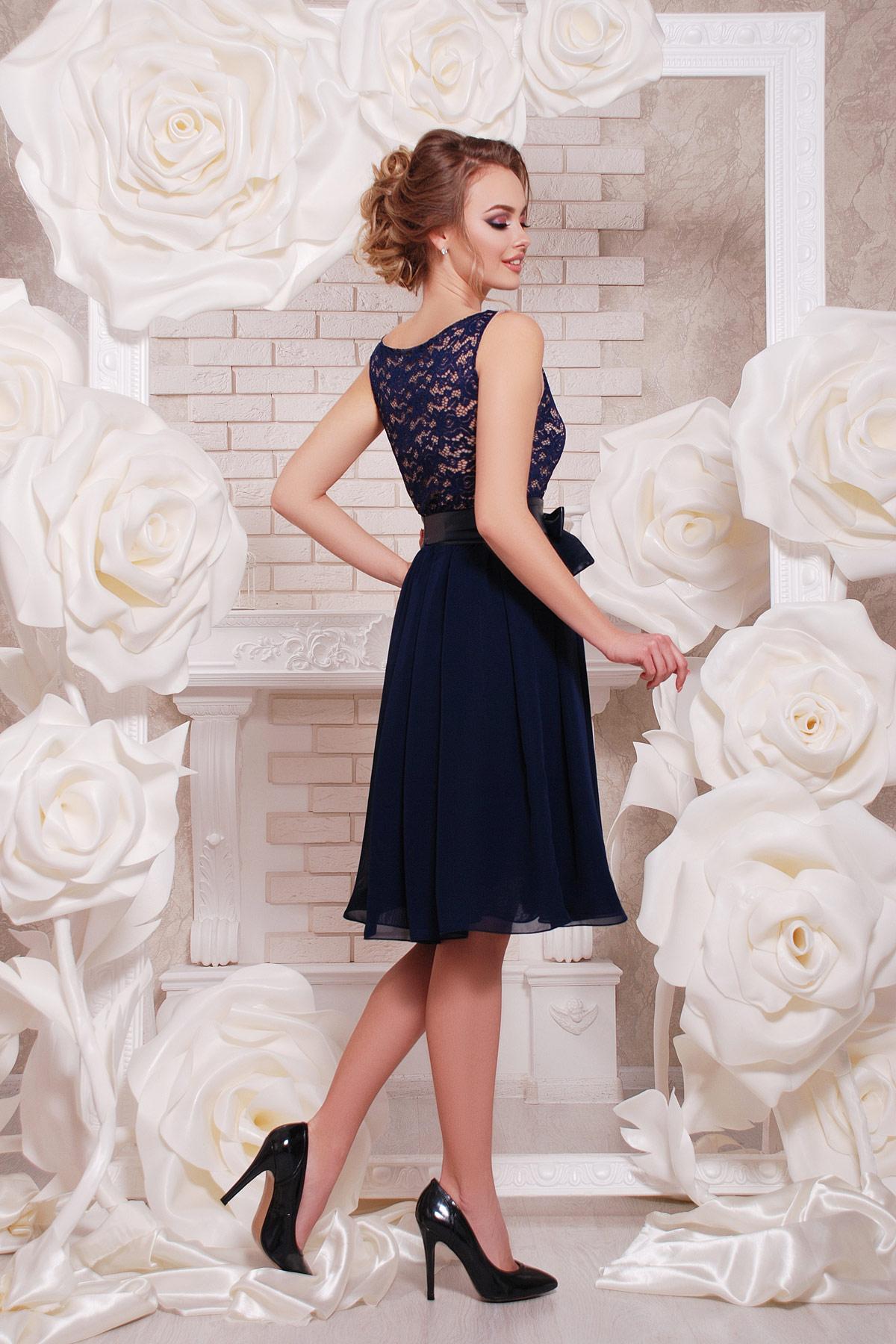 e1869a55cbd4b01 ... персиковое коктейльное платье без рукавов. платье Настасья б/р. Цвет:  синий цена