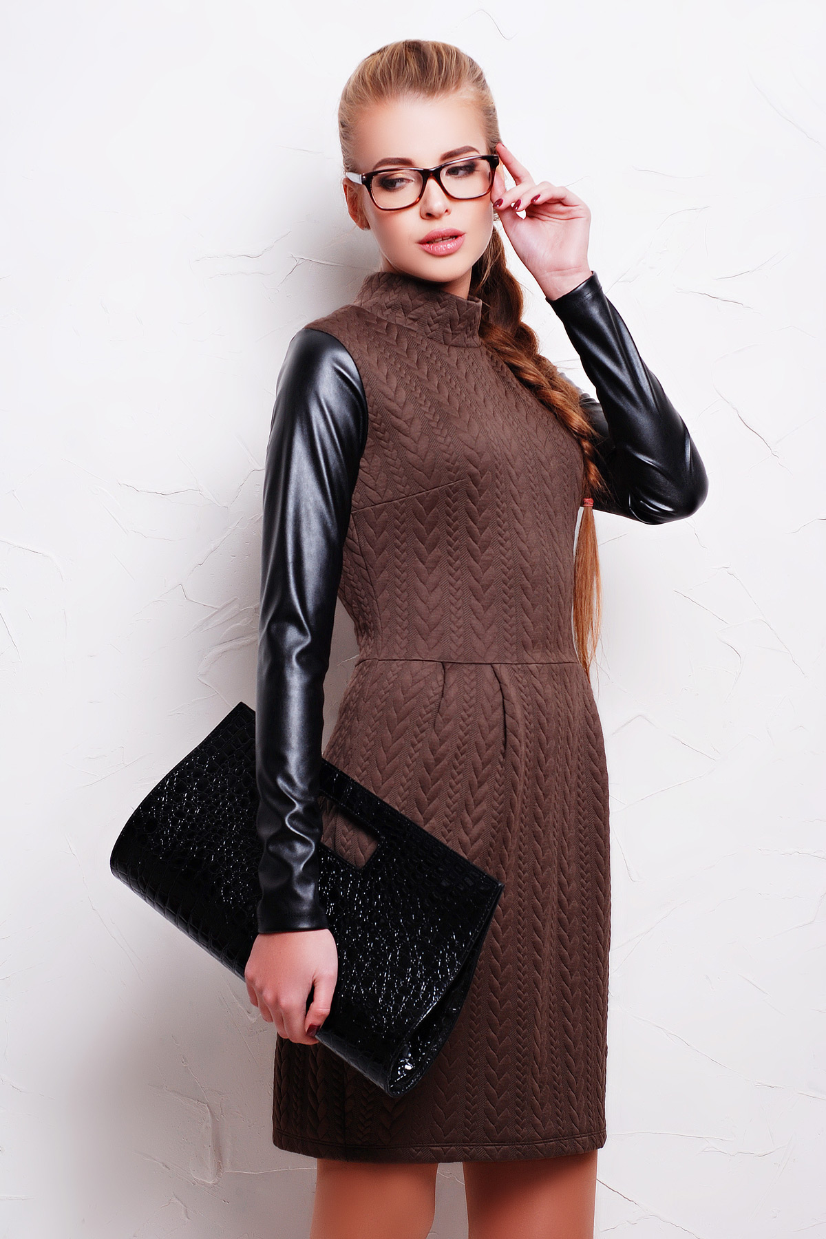 платье Даниель д/р. Цвет: шоколад коса-черная кожа