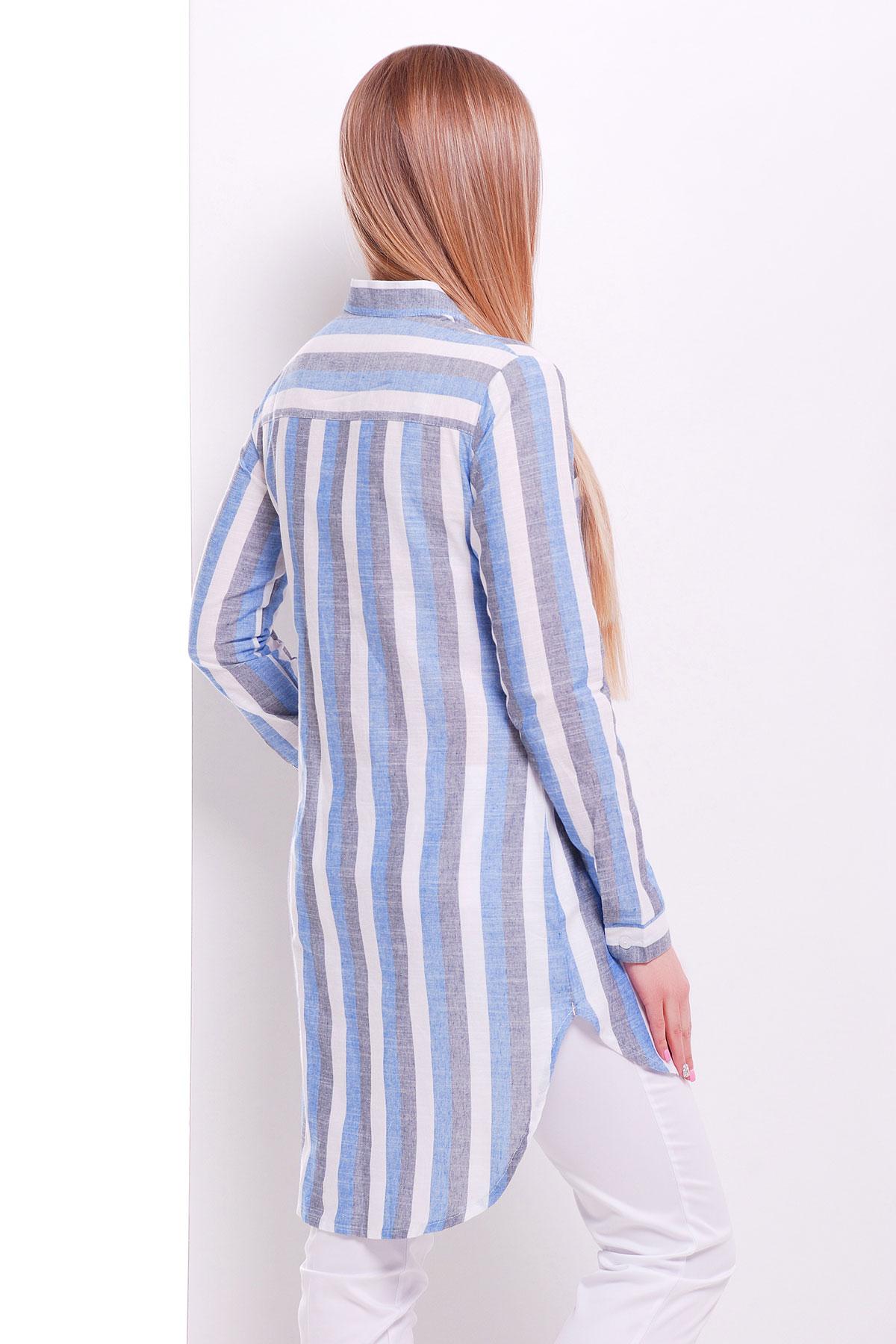 5f1eeaebcdc длинная женская рубашка в полоску. рубашка Саронта д р. Цвет  электрик-