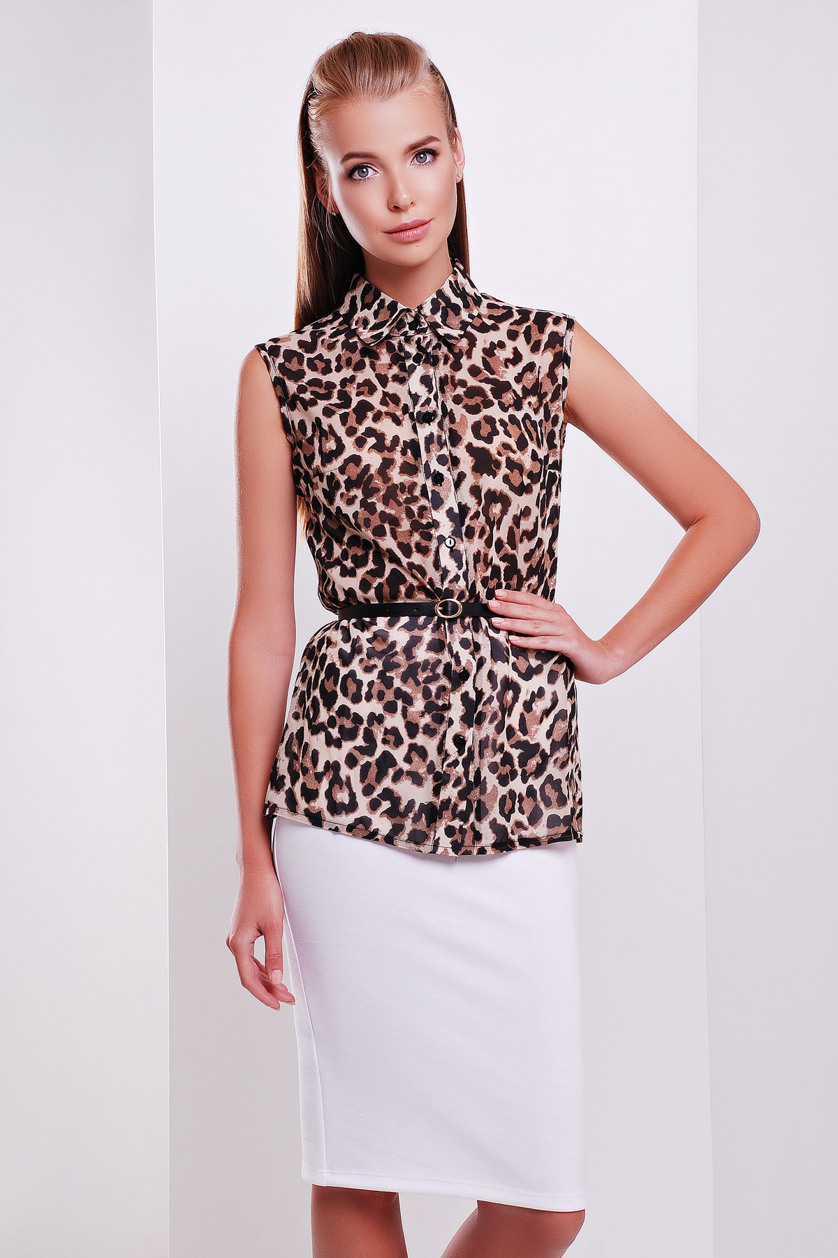 блуза Сити2 горох б/р. Цвет: леопардовый