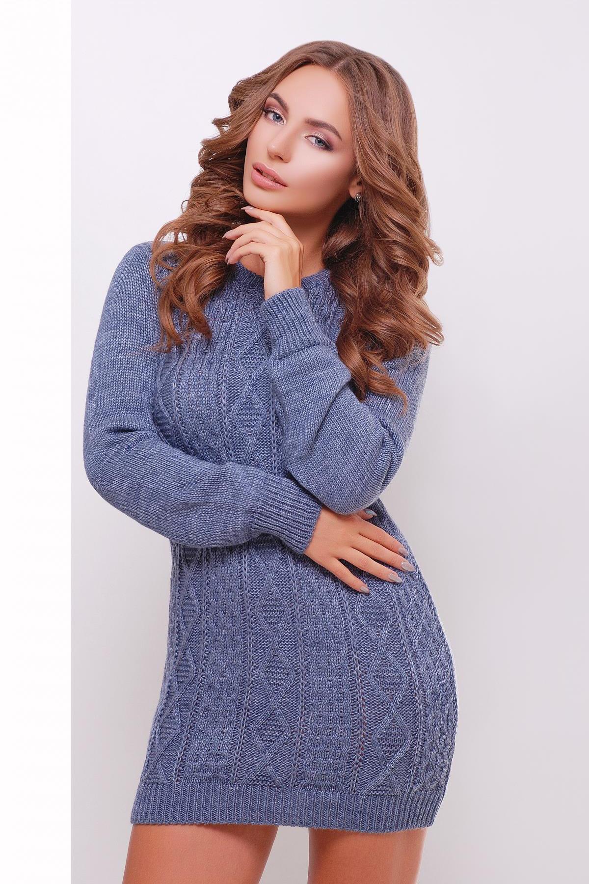e295f13d995 короткое вязаное платье. Платье-туника 143. Цвет  светлый-джинс