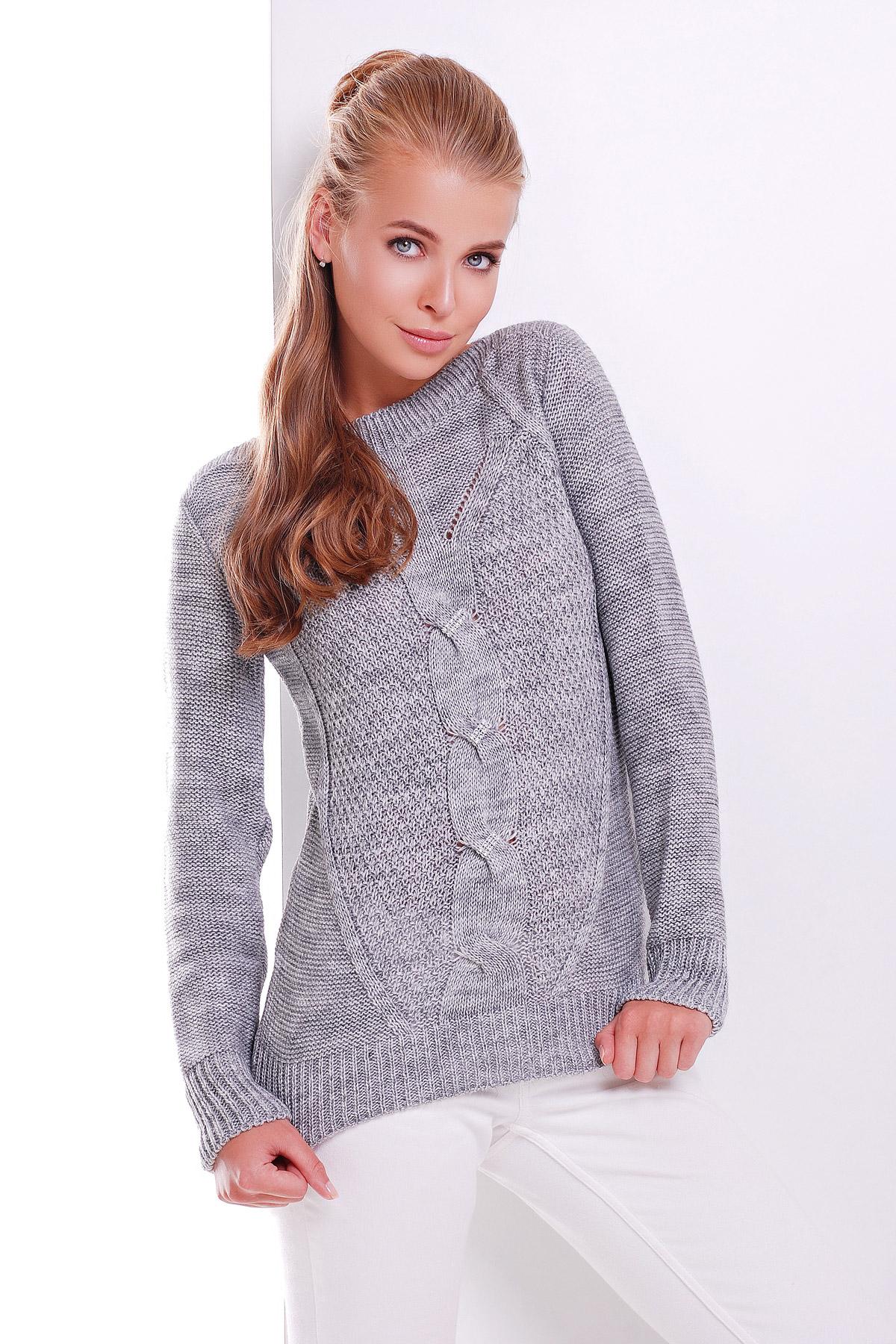 купить женский серый вязаный свитер
