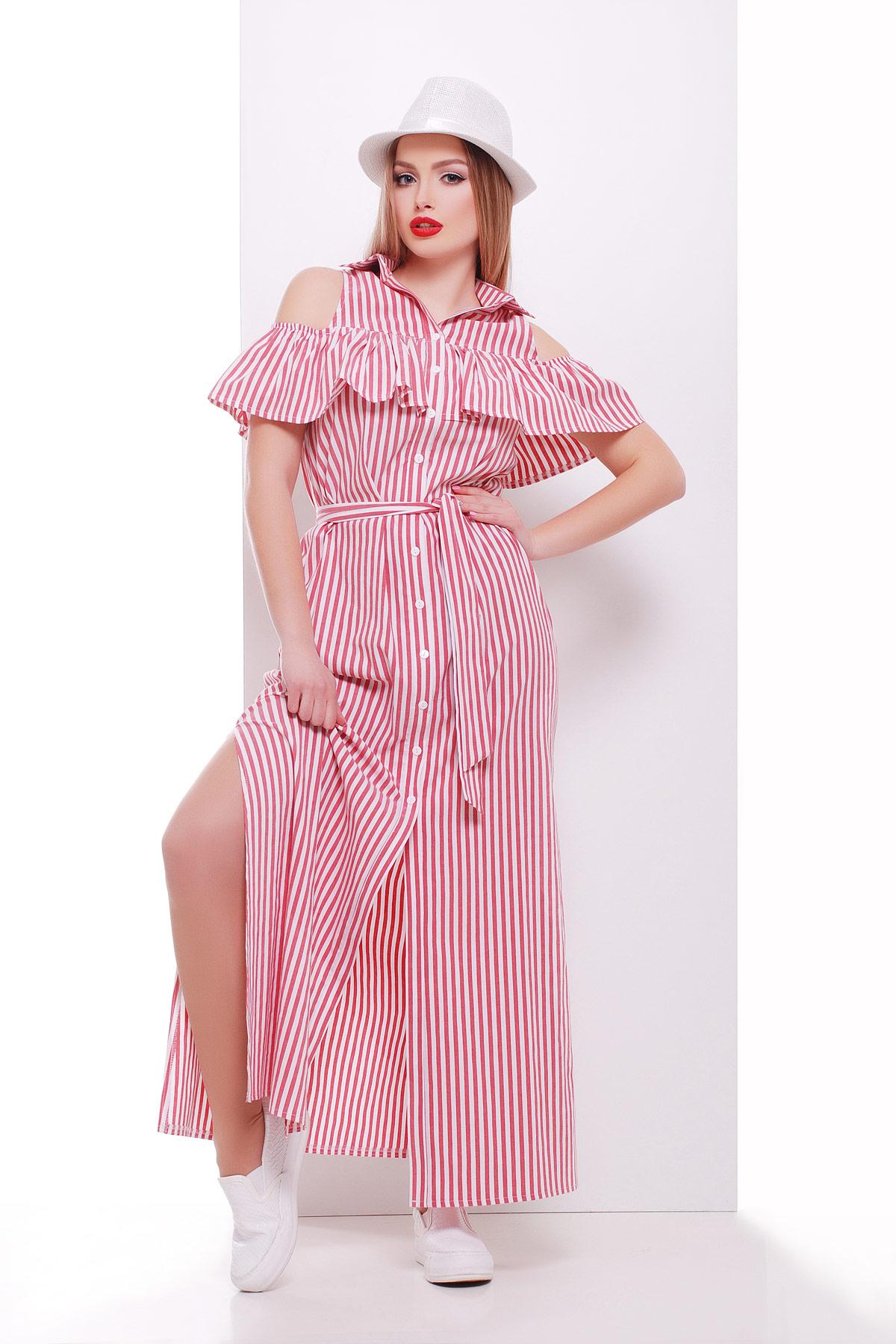 платье Лаванья б/р. Цвет: розовая полоска