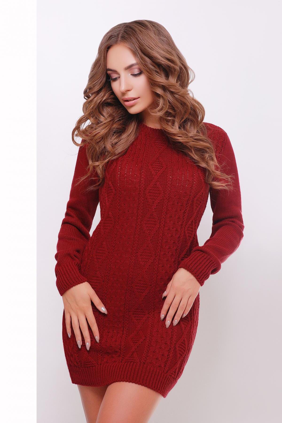 ae574589c2b бордовое вязаное платье. Платье-туника 143. Цвет  бордовый