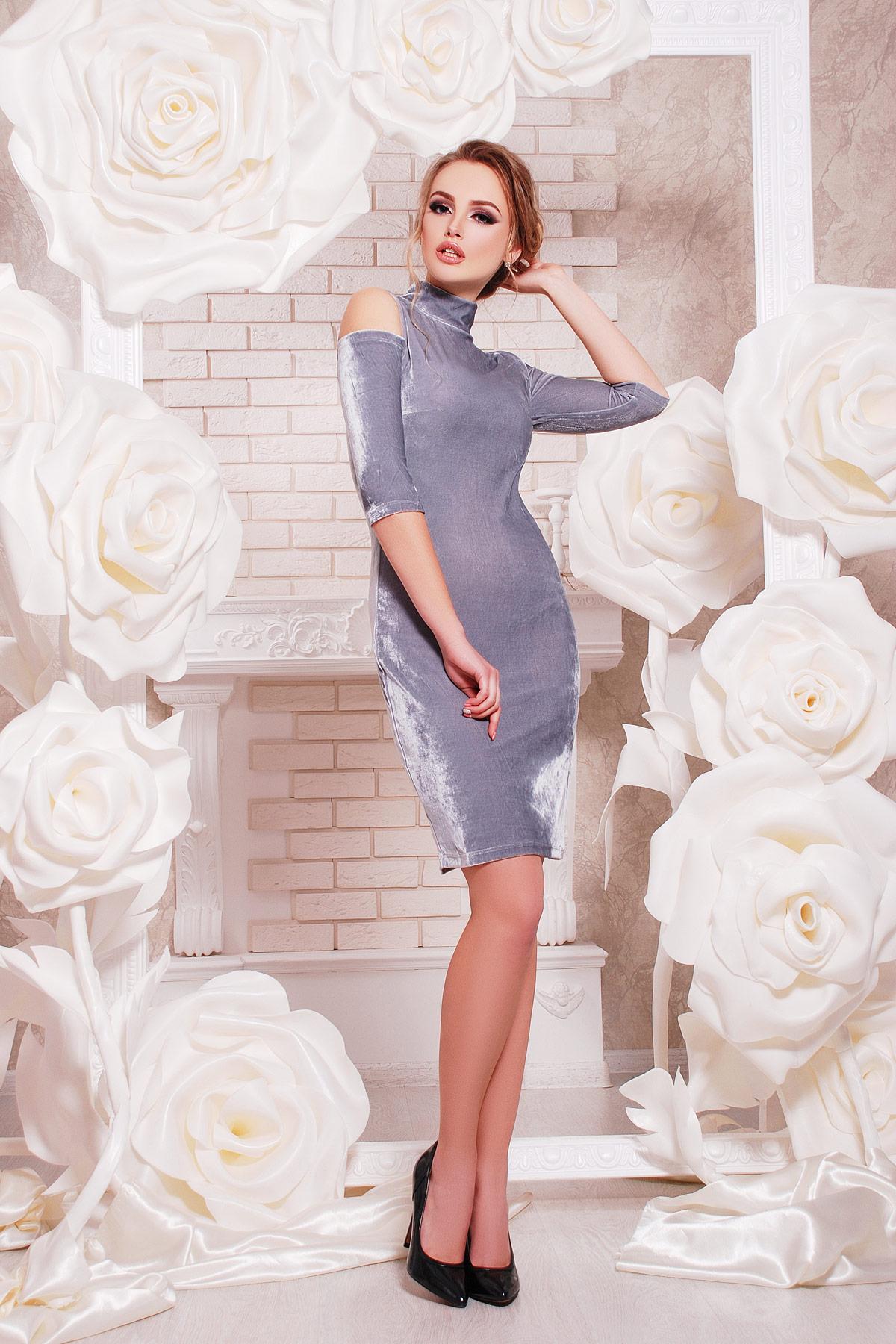 abdd653ad4e серебристое платье с вырезами на плечах. платье Вилия к р. Цвет  серебряный