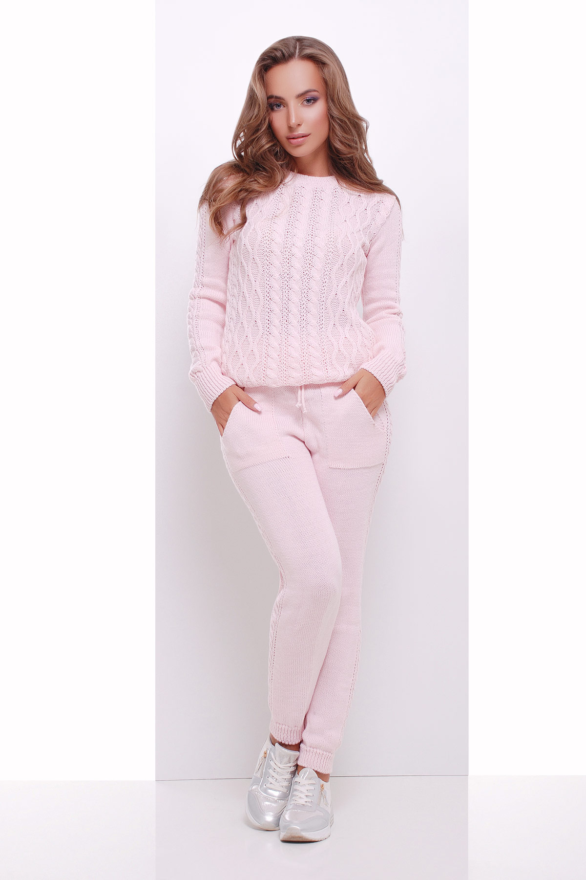 вязаный розовый костюм 140 купить в украине