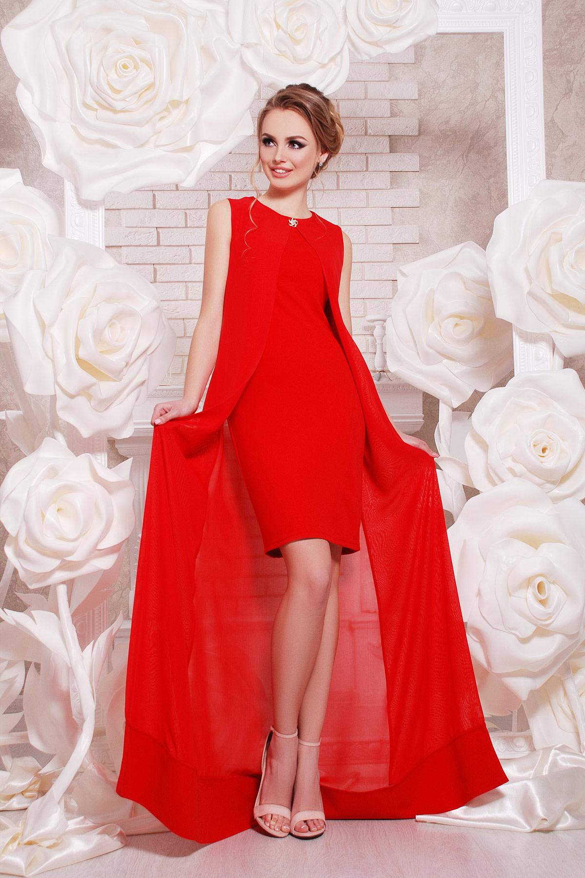 2086c0bf3ea Красное платье с шифоновой накидкой. платье Ясмина б р. Цвет  красный