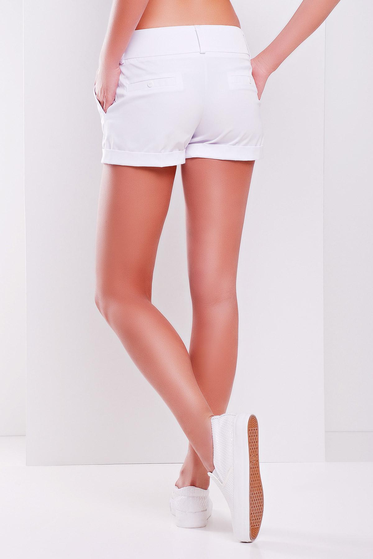 326da6b8212c Купить белые короткие женские трикотажные шорты из костюмной ткани