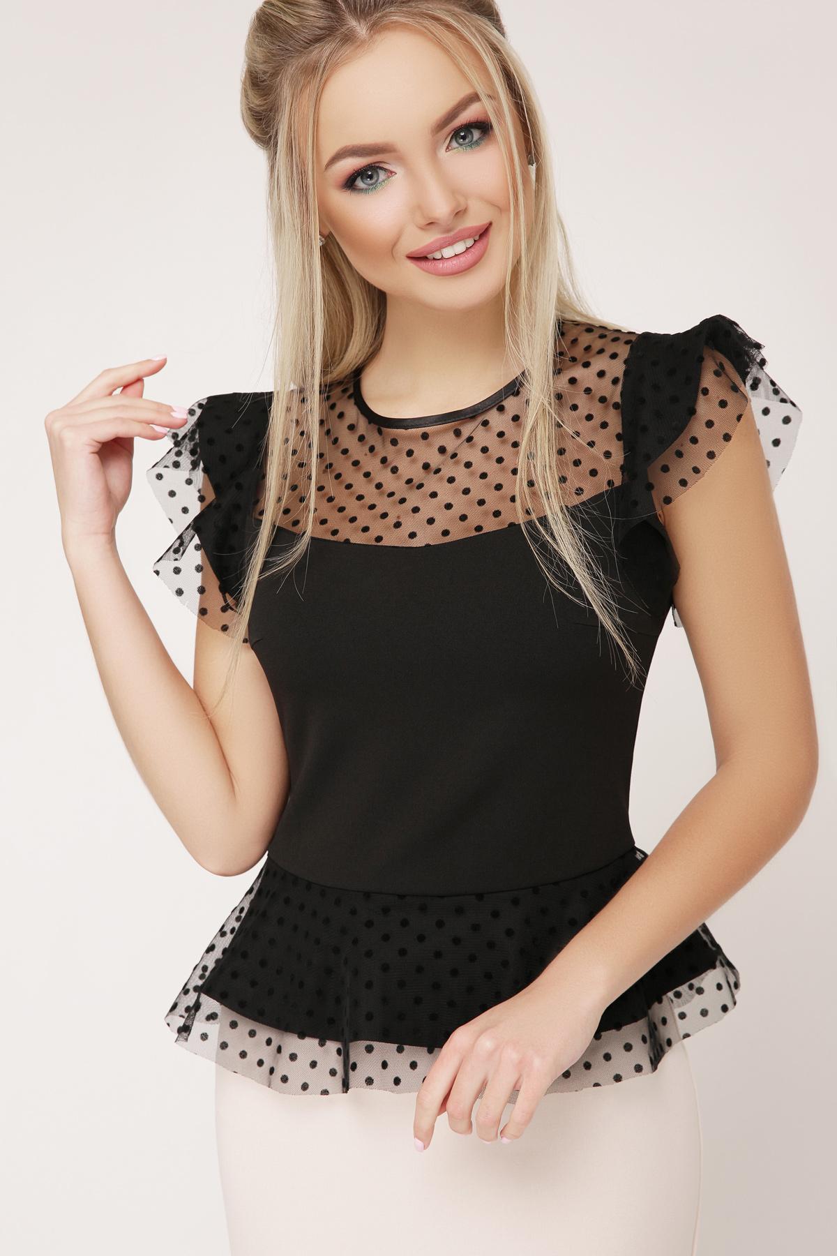 c92e814e975 черная блузка с баской. блуза Лайза б р. Цвет  черный купить ...