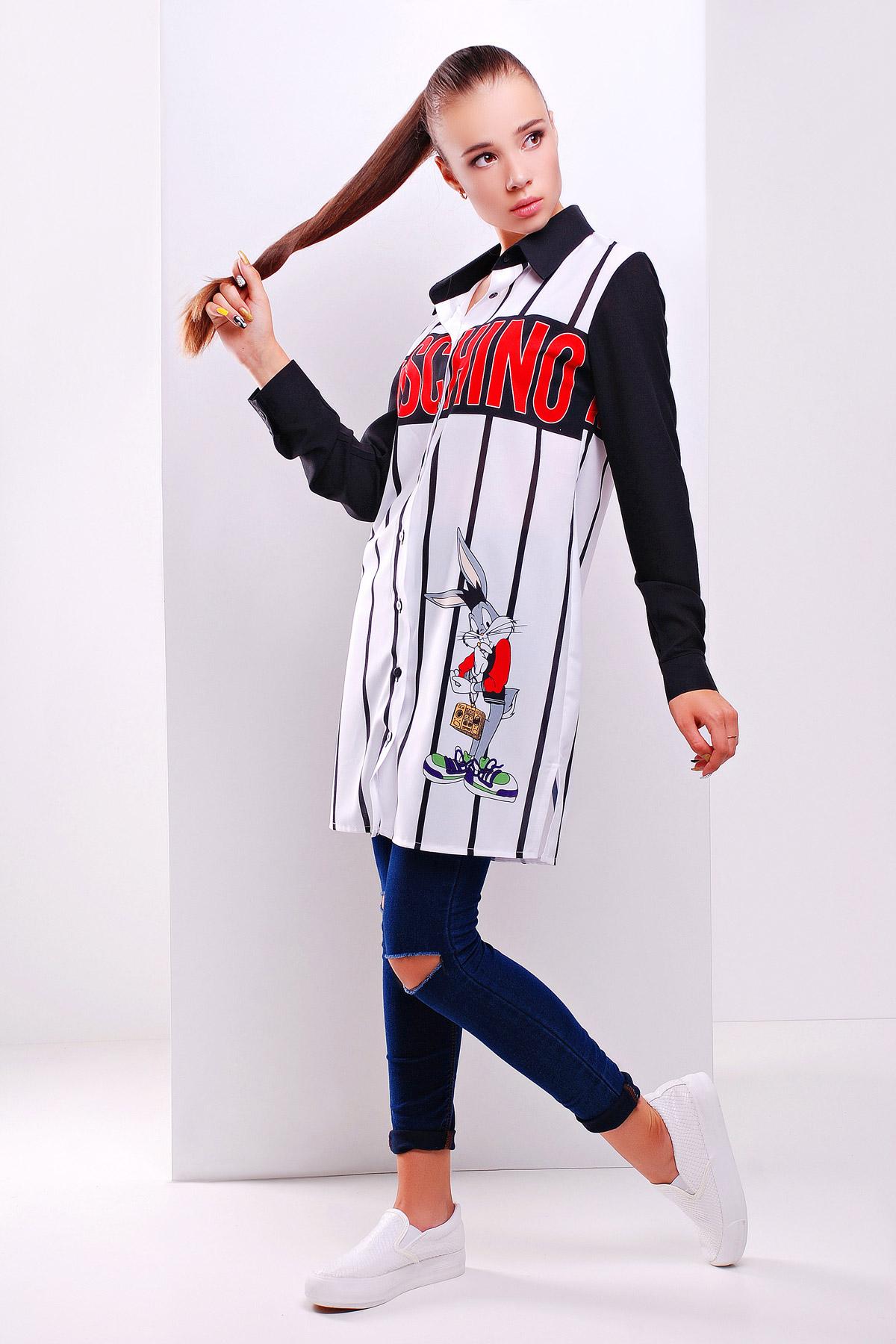 c546cbf1be2 длинная женская рубашка с модным принтом Moschino. Moschino рубашка Марена  д р. Цвет