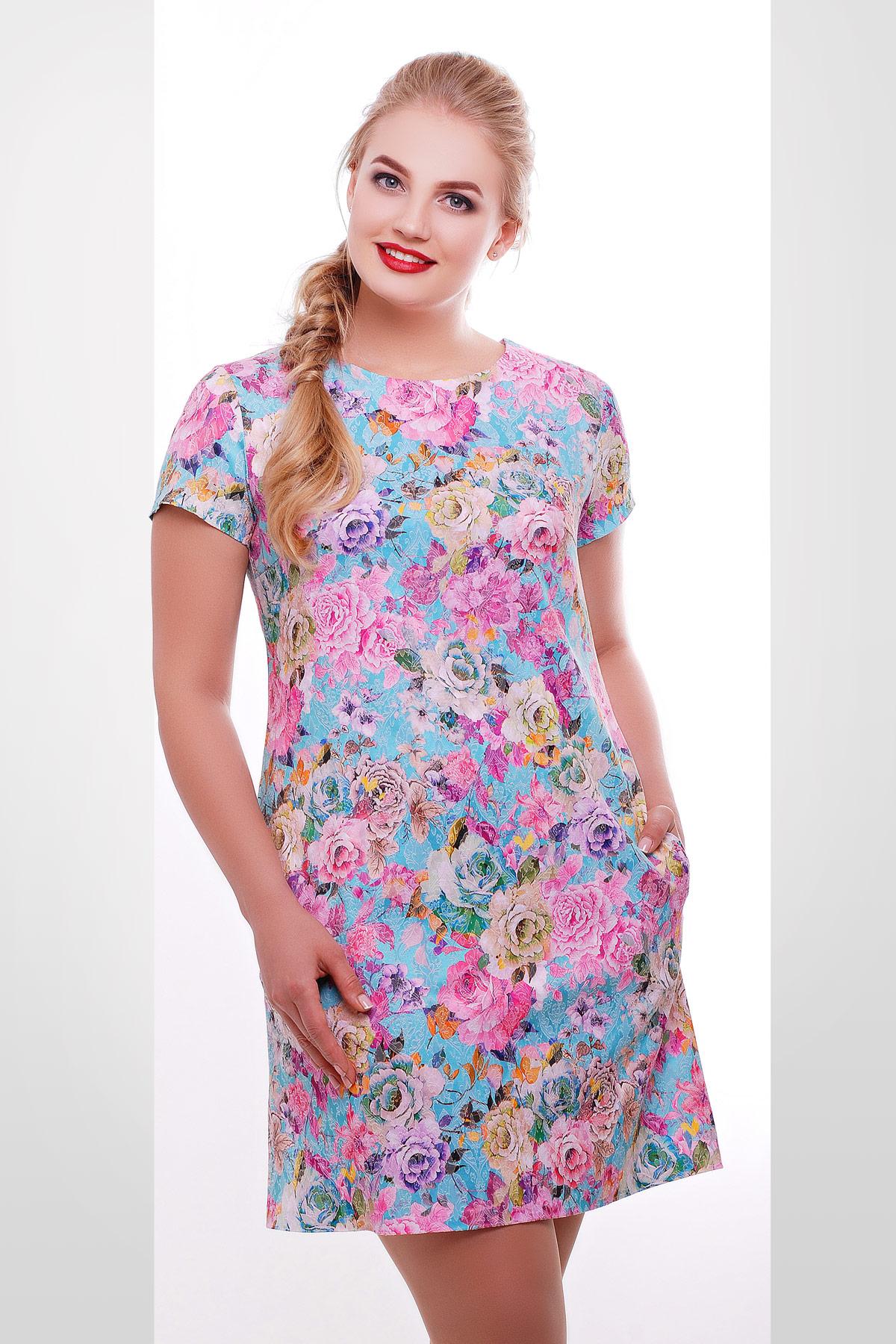 платье Миранда к/р. Цвет: бирюза-цветы