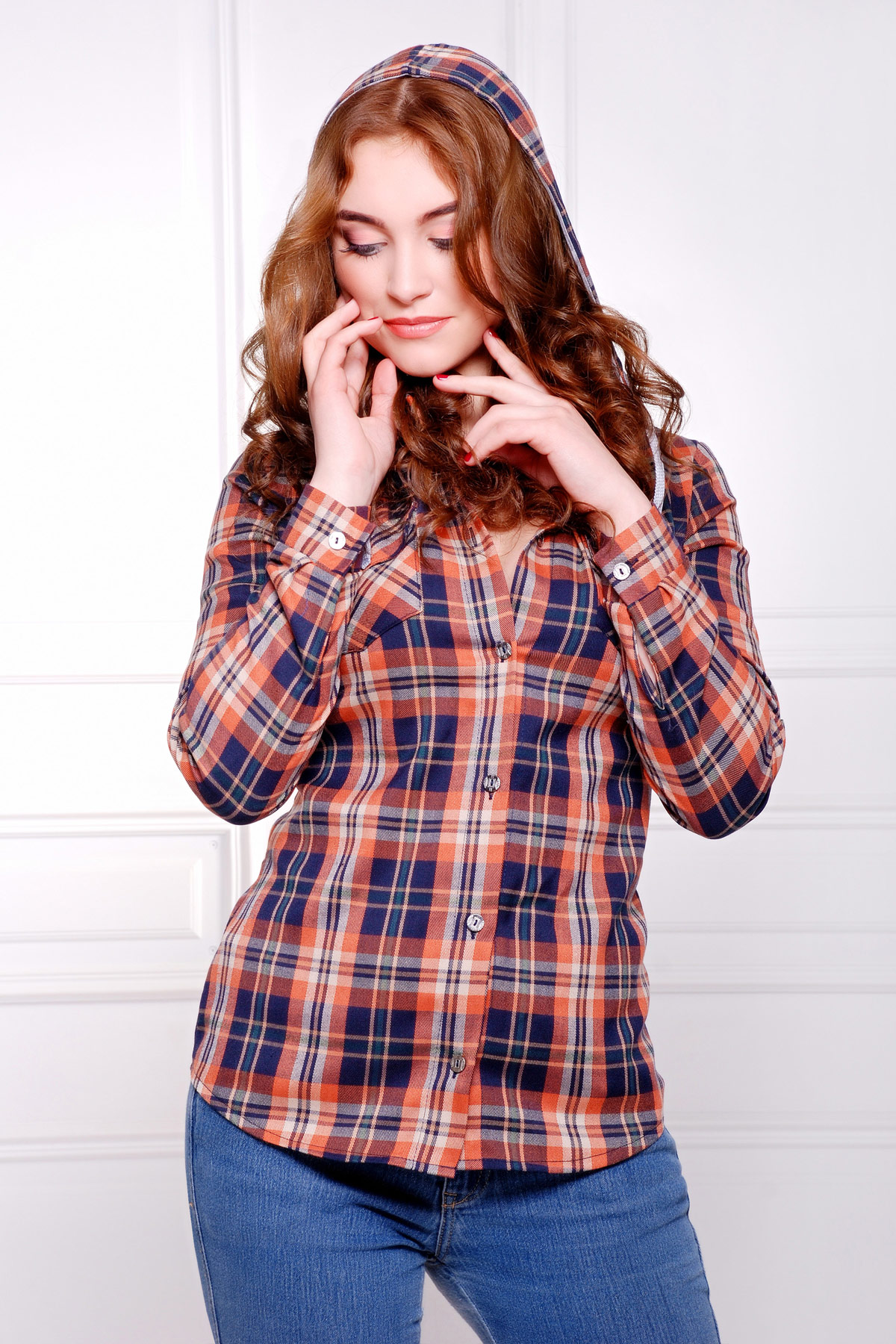 блуза Коломбо д/р. Цвет: т.синий-коричневый