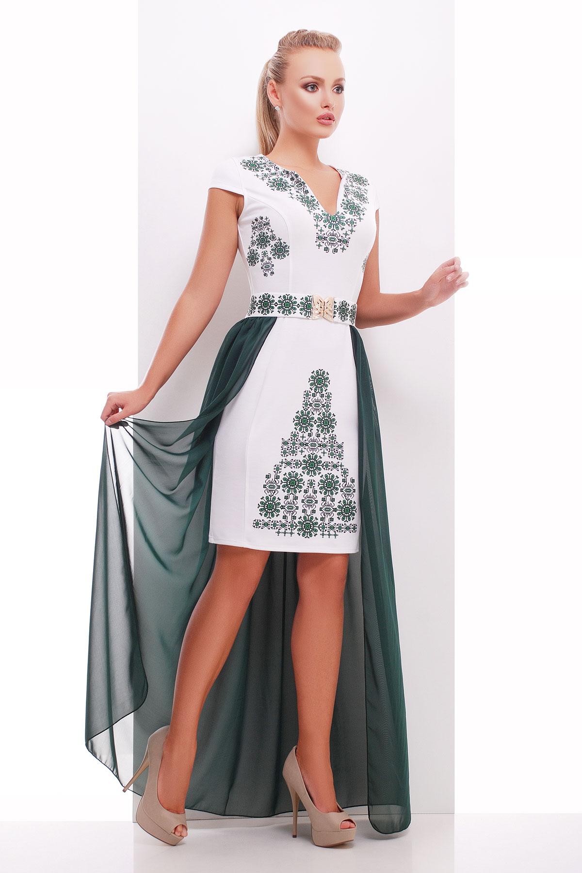 7c4343bb7be платье большого размера с шифоновой юбкой. Орнамент-изумруд платье  Аркадия-Б б