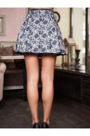 короткая юбка с цветочным принтом. юбка мод. №7А. Цвет: т.синий-т.синяя отделка купить