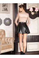 юбка в складку из экокожи. юбка мод. №7. Цвет: черный
